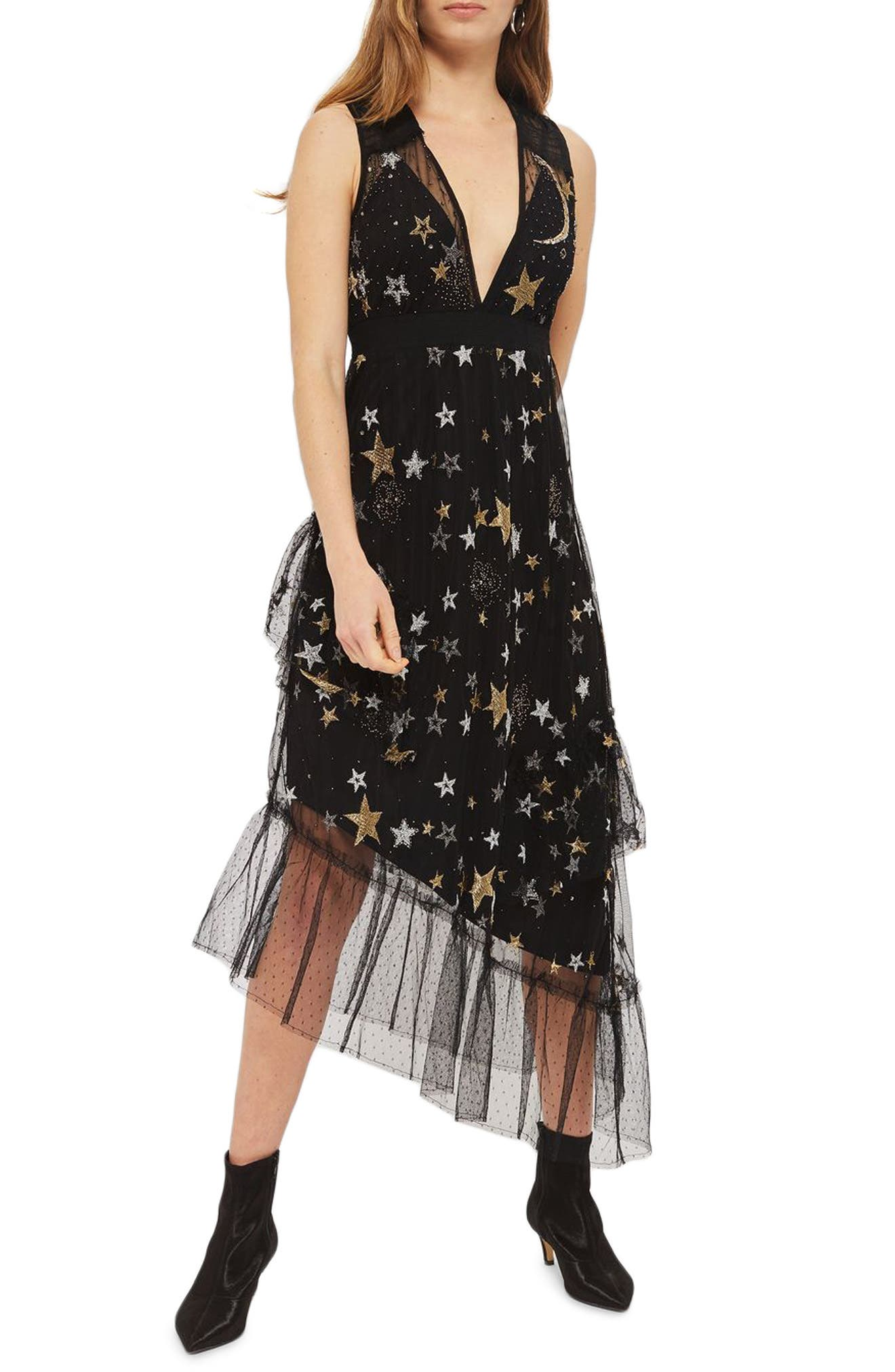Star Print Asymmetrical Midi Dress,                         Main,                         color,