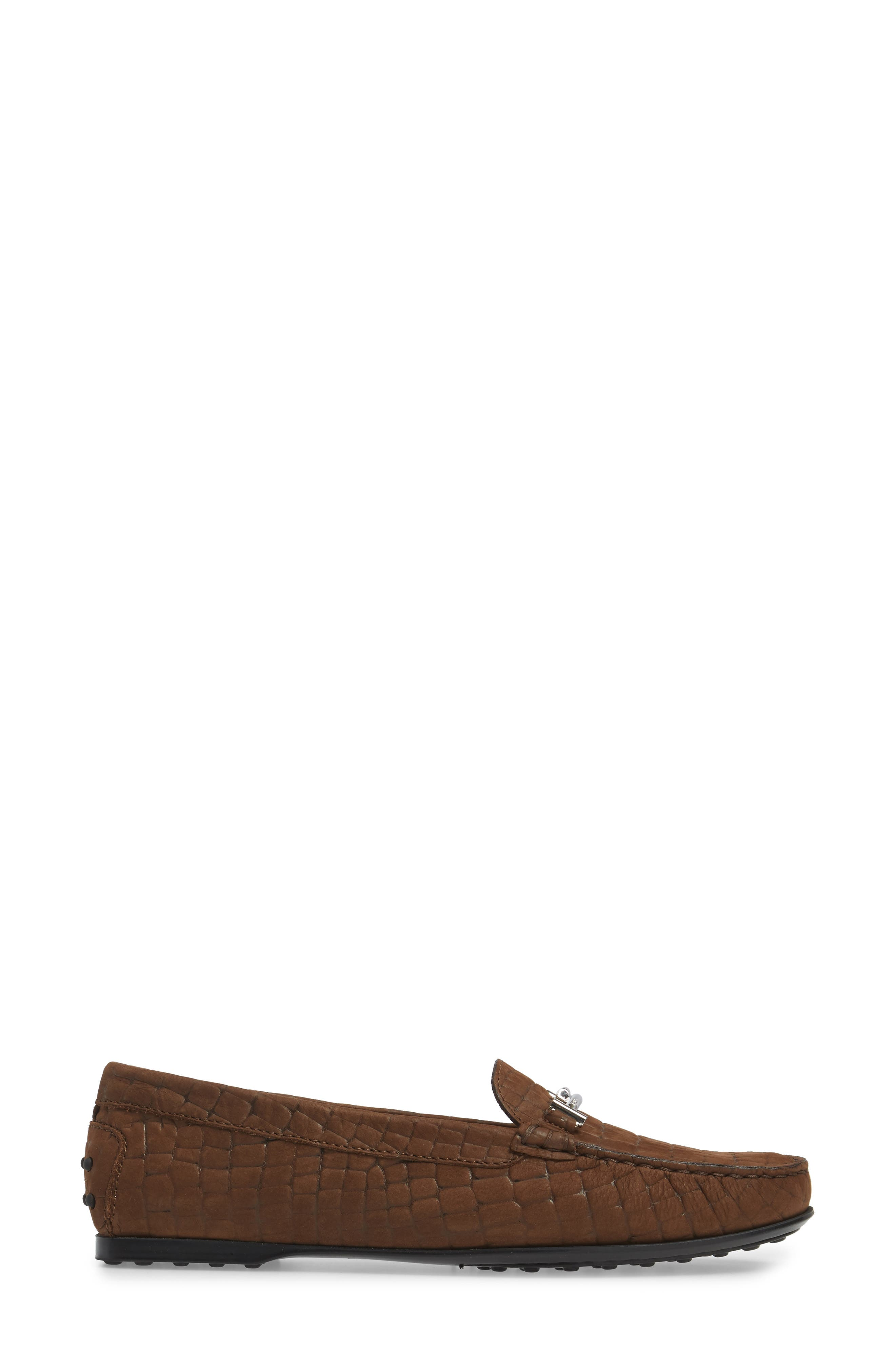 Tods Croc Embossed Double T Loafer,                             Alternate thumbnail 3, color,                             249