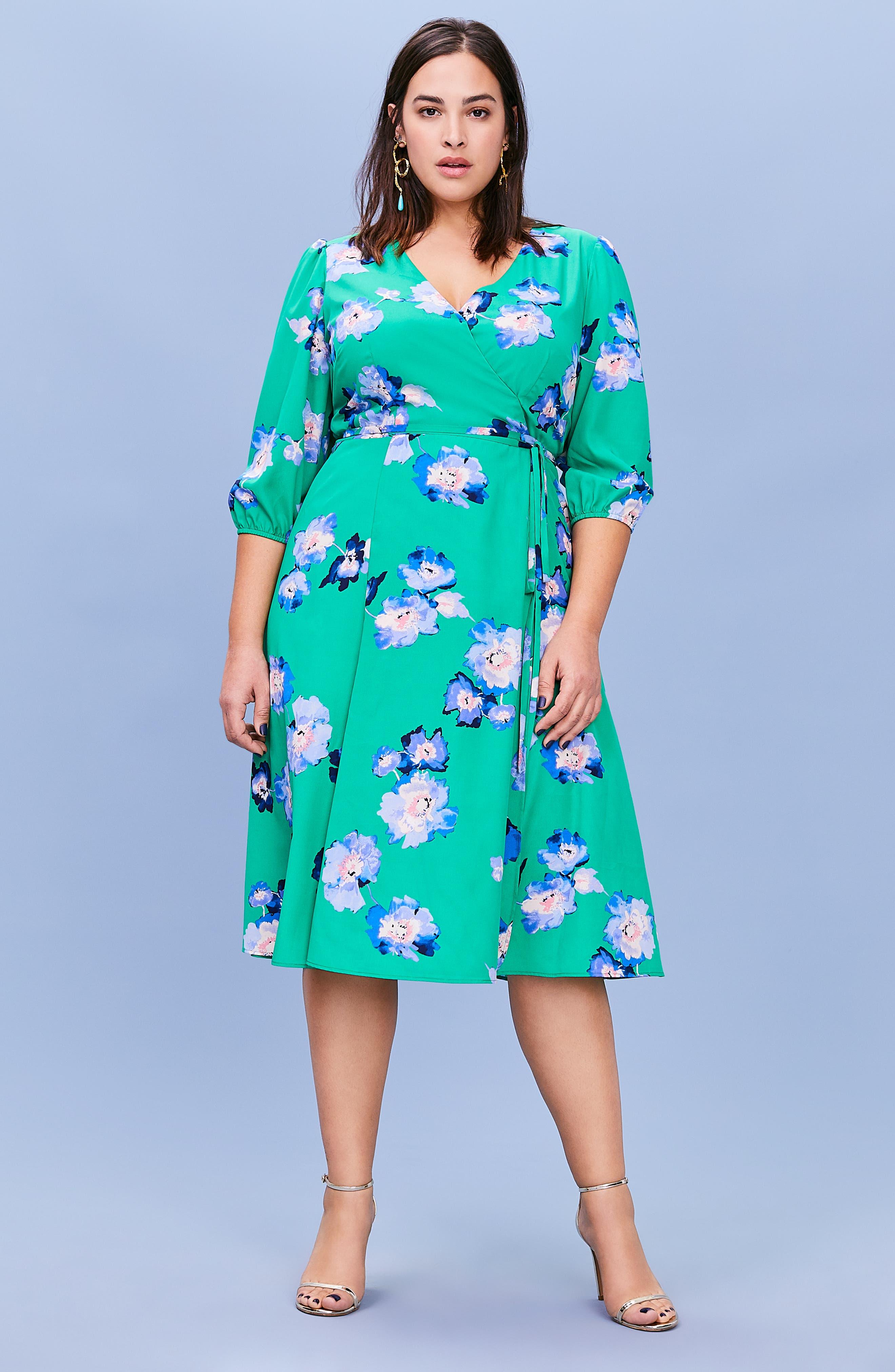 Blouson Sleeve Wrap Midi Dress,                             Alternate thumbnail 8, color,                             GREEN