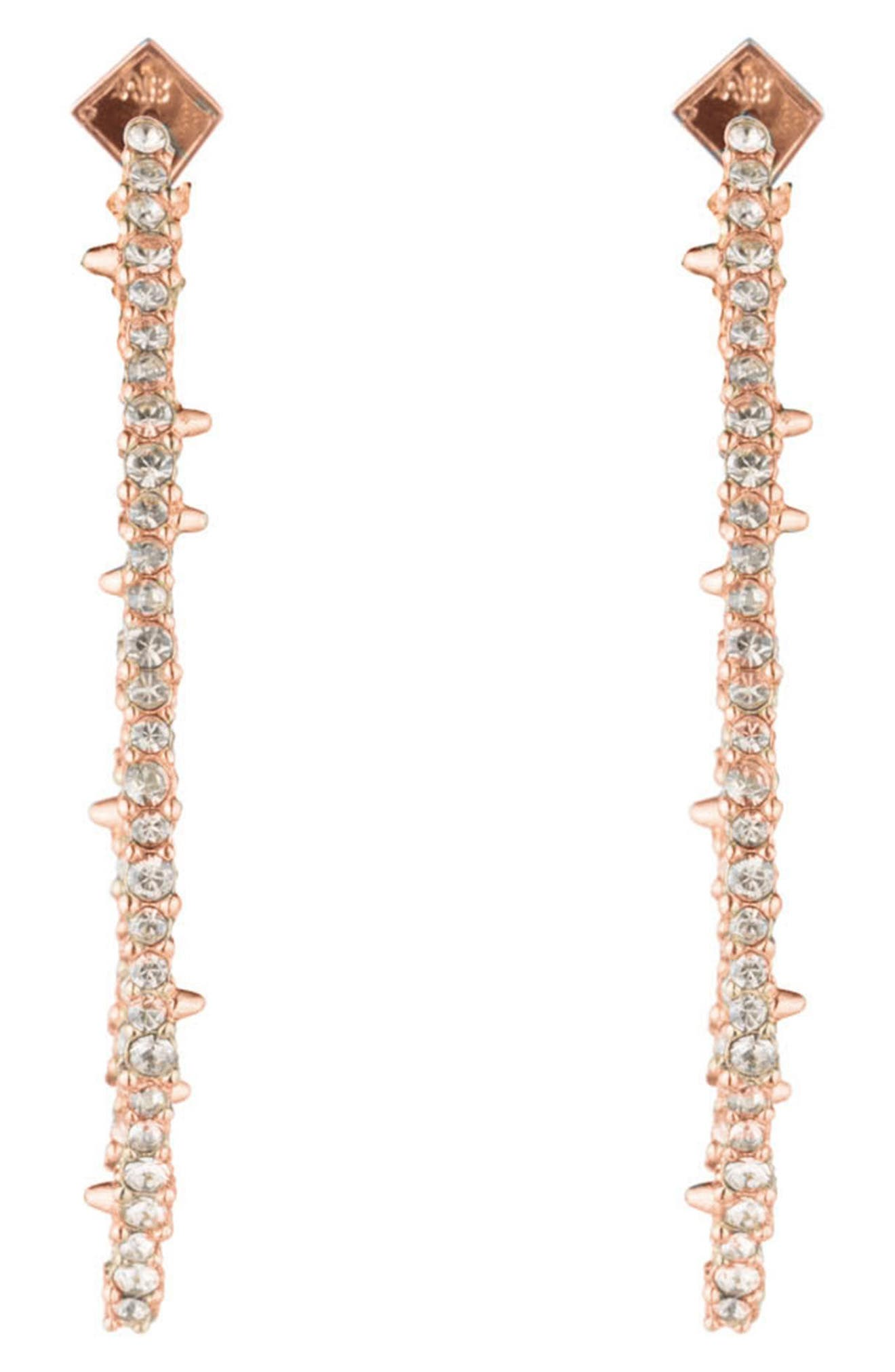 ALEXIS BITTAR,                             Essentials Crystal Encrusted Abstract Thorn Drop Earrings,                             Alternate thumbnail 2, color,                             CRYSTAL/ GOLD