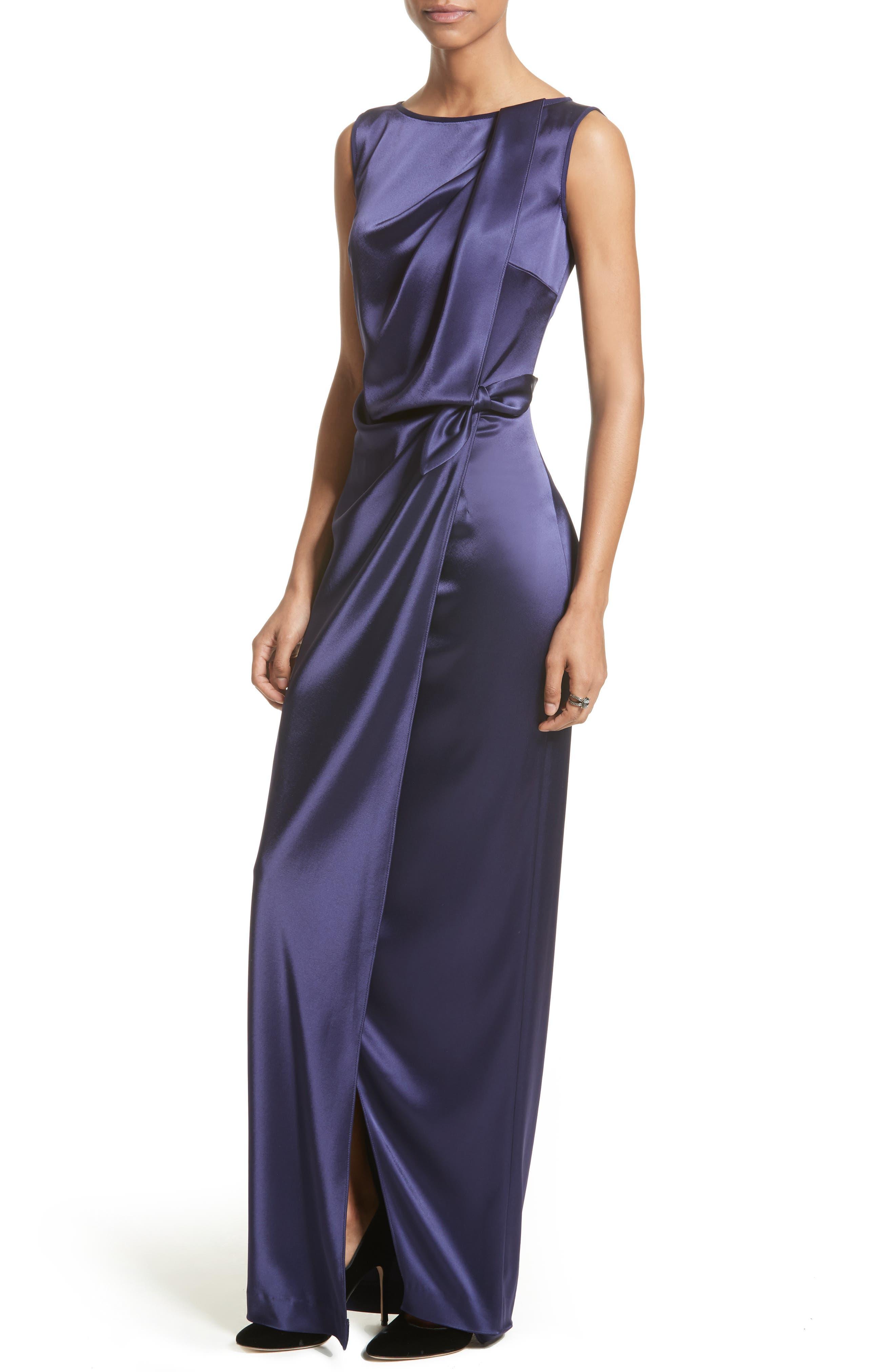 Liquid Satin Drape Front Column Gown,                             Alternate thumbnail 4, color,
