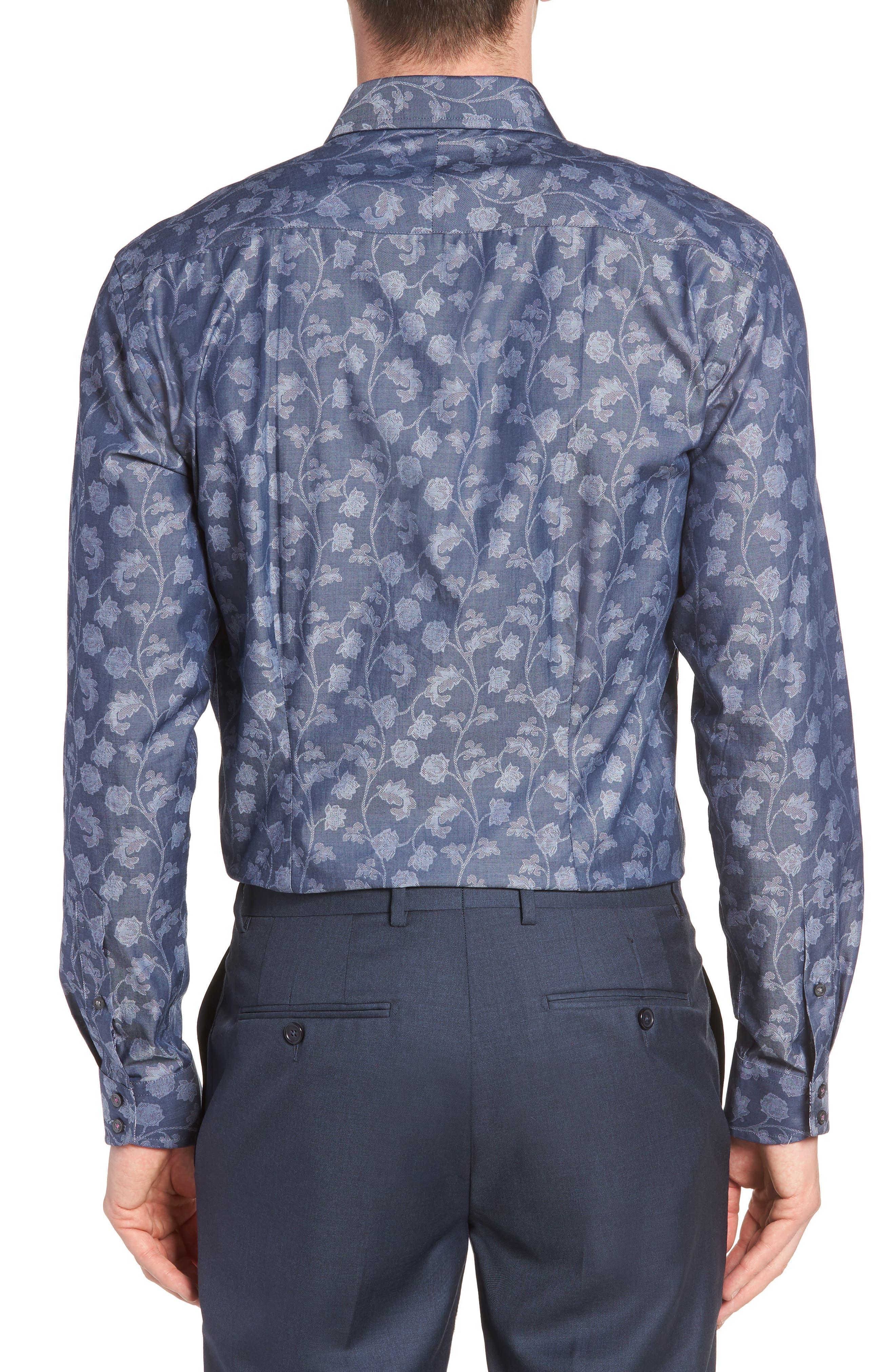 Place Trim Fit Floral Dress Shirt,                             Alternate thumbnail 3, color,                             NAVY