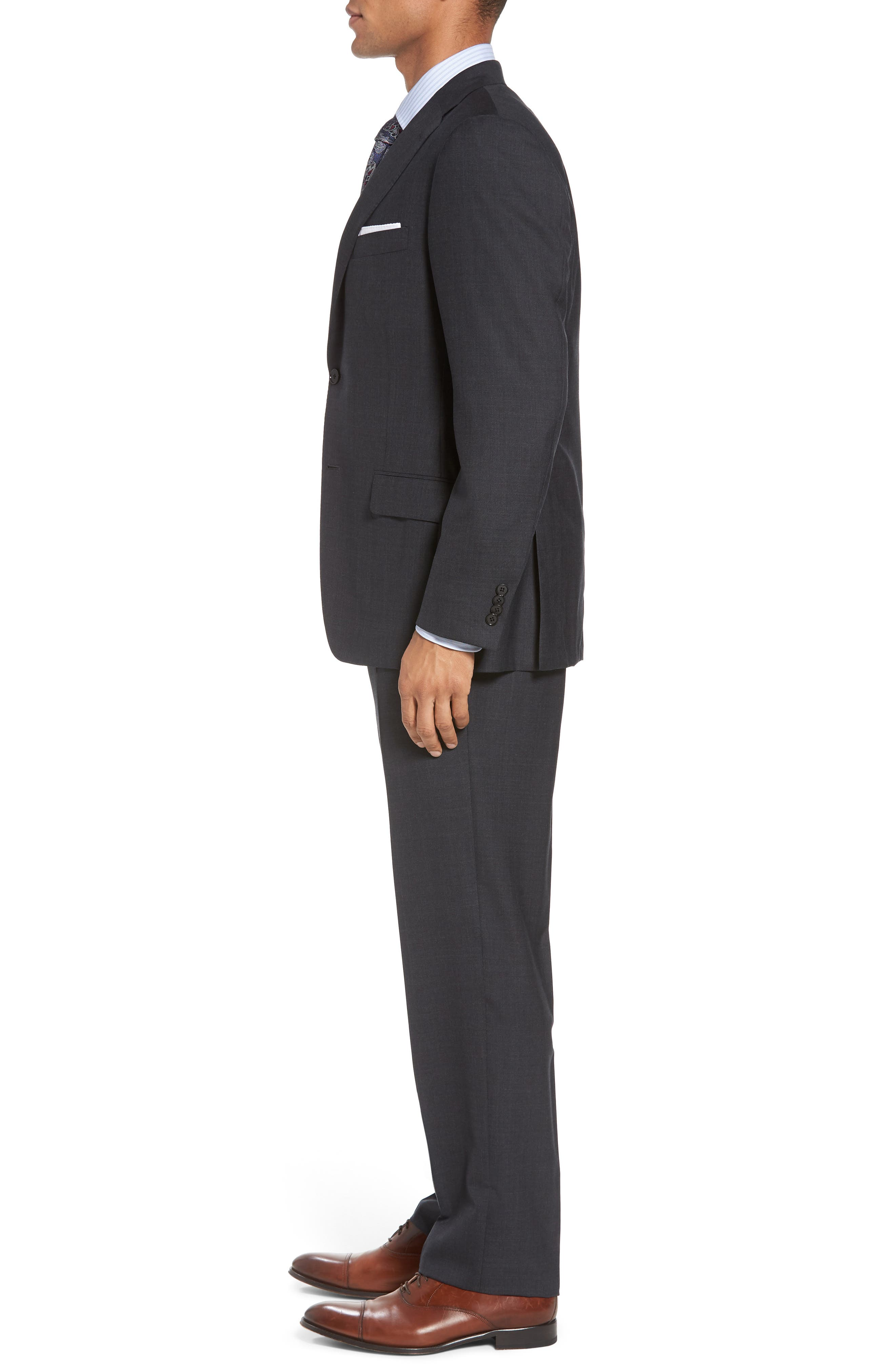 Classic B Fit Check Wool Suit,                             Alternate thumbnail 3, color,                             099