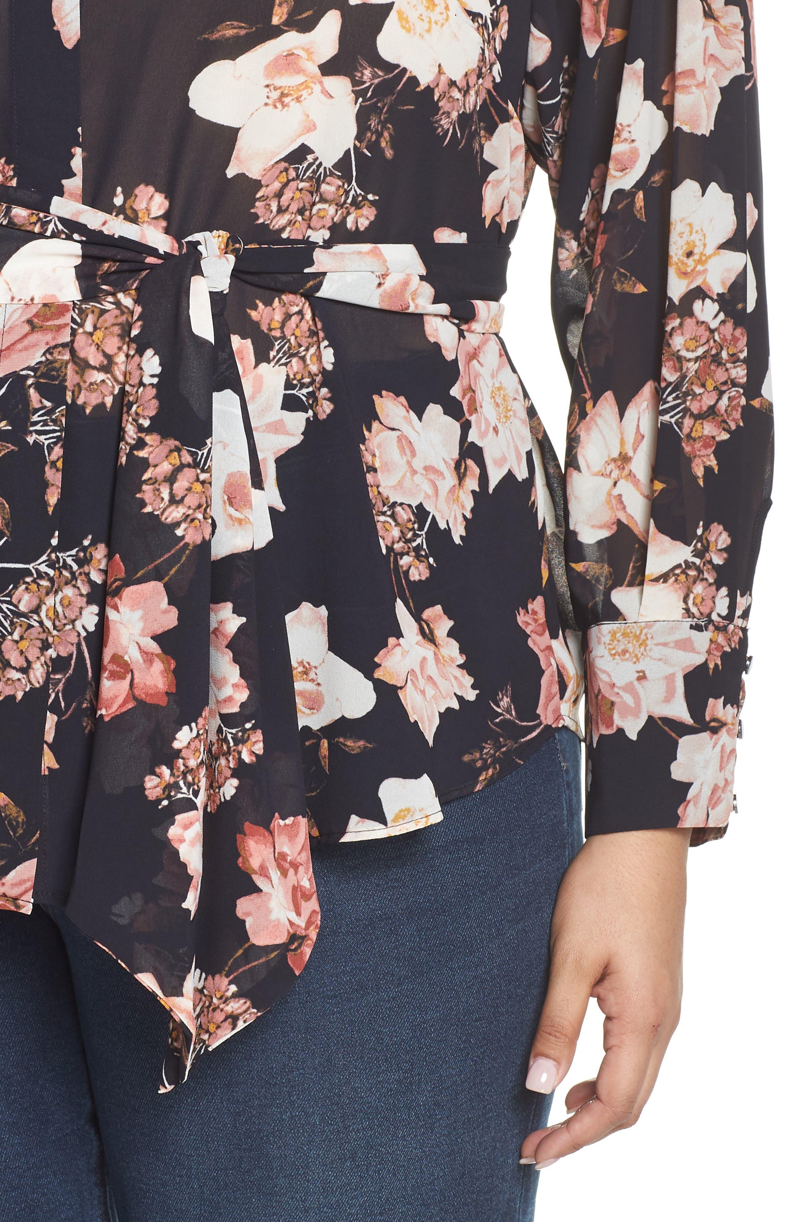 RACHEL ROY COLLECTION,                             Floral Tie Blouse,                             Alternate thumbnail 4, color,                             BLACK COMBO