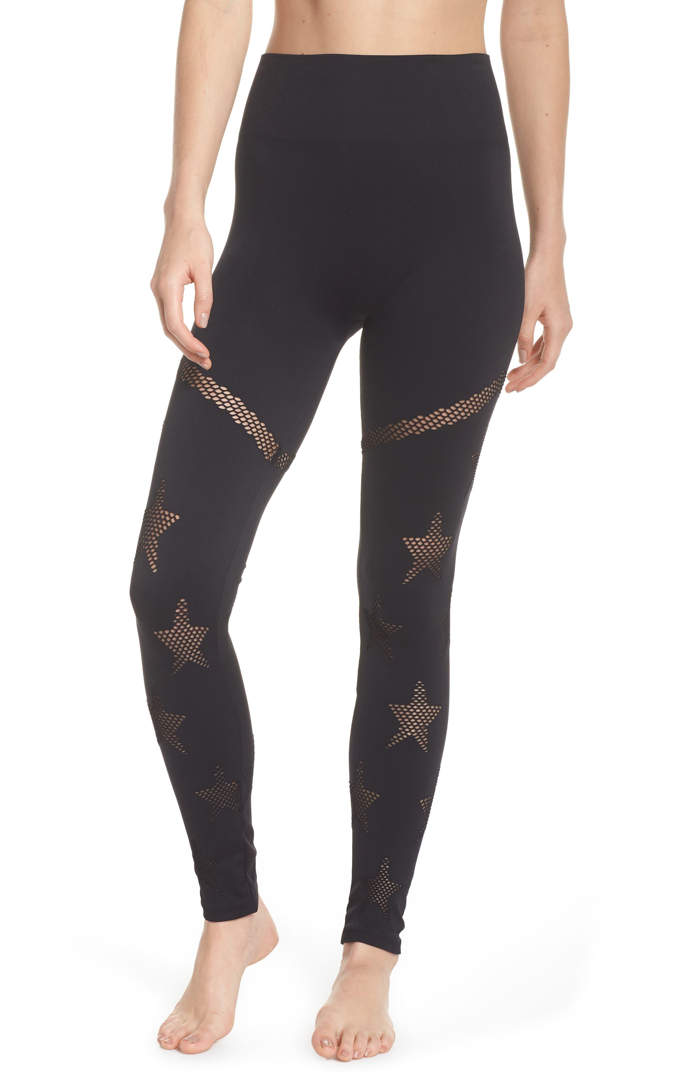 Star Mesh Leggings,                         Main,                         color, BLACK