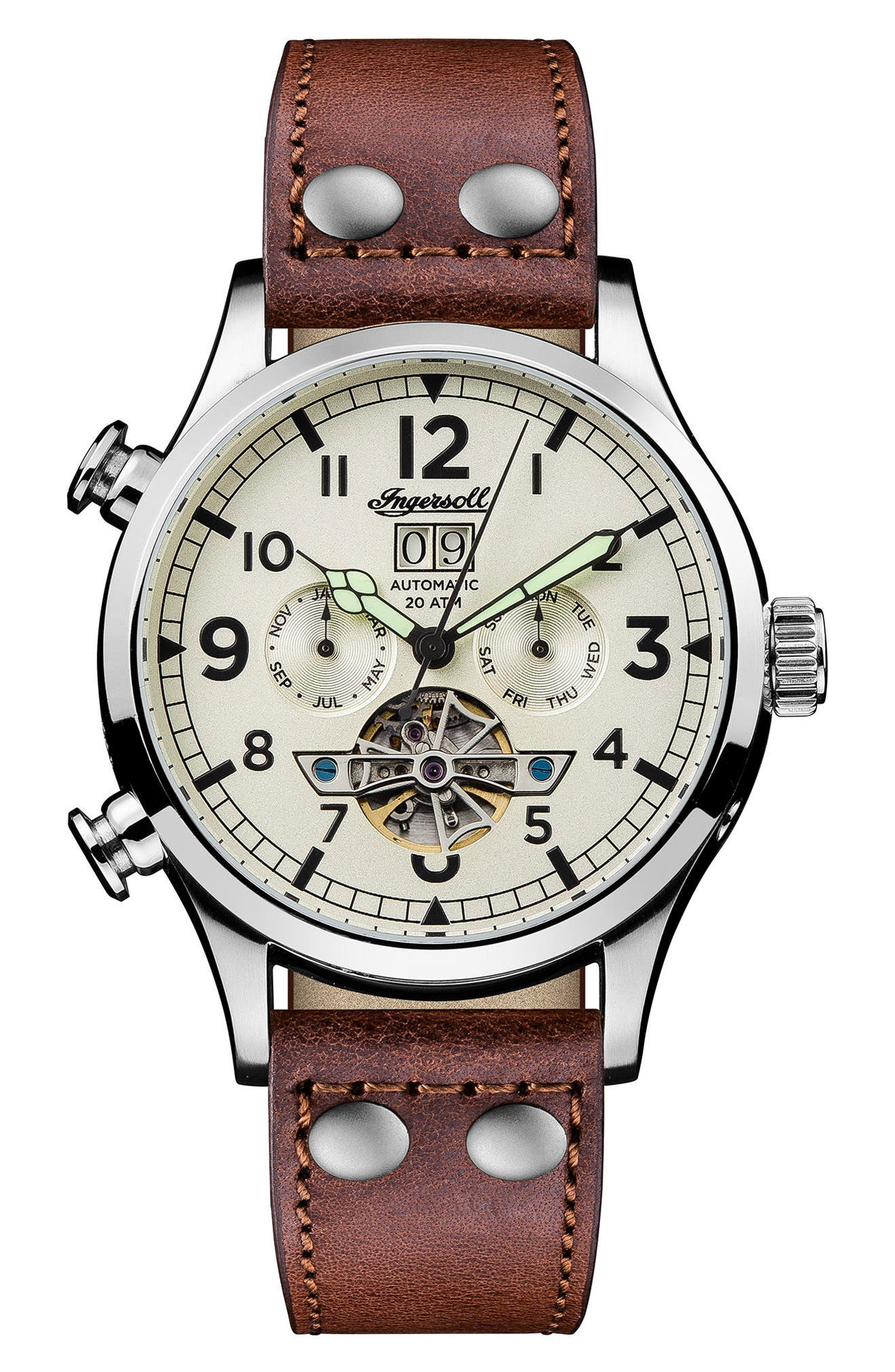 Ingersoll Armstrong Automatic Chronograph Leather Strap Watch, 46mm,                             Main thumbnail 1, color,                             BROWN/ CREAM/ SILVER
