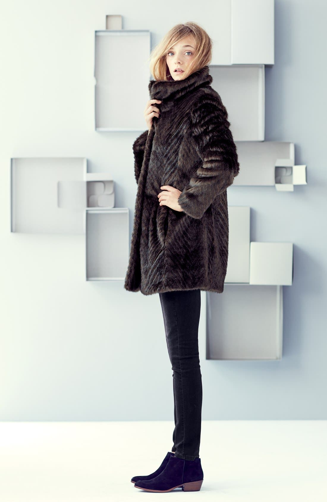 Faux Fur A-Line Coat,                             Alternate thumbnail 4, color,                             200