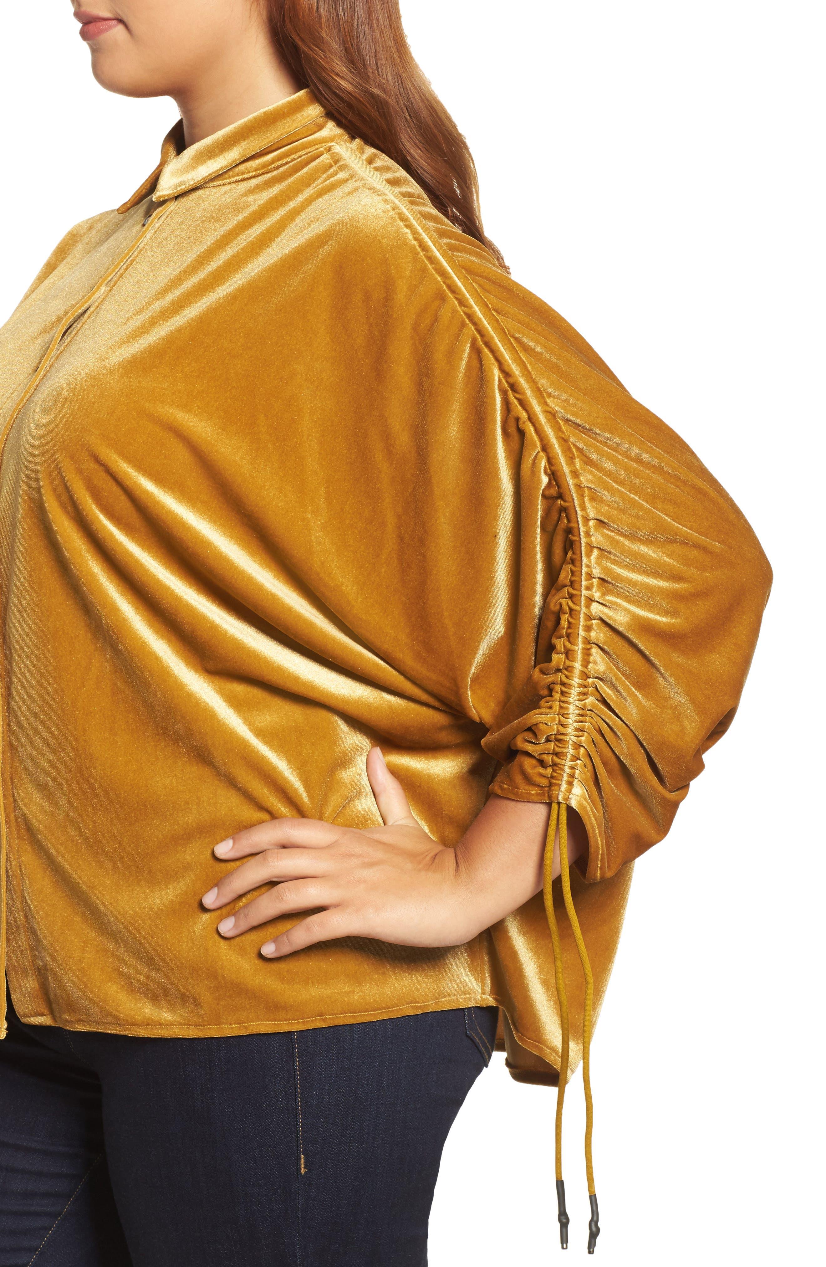 Velvet Velvet Gathered Sleeve Button Down Shirt,                             Alternate thumbnail 4, color,                             700