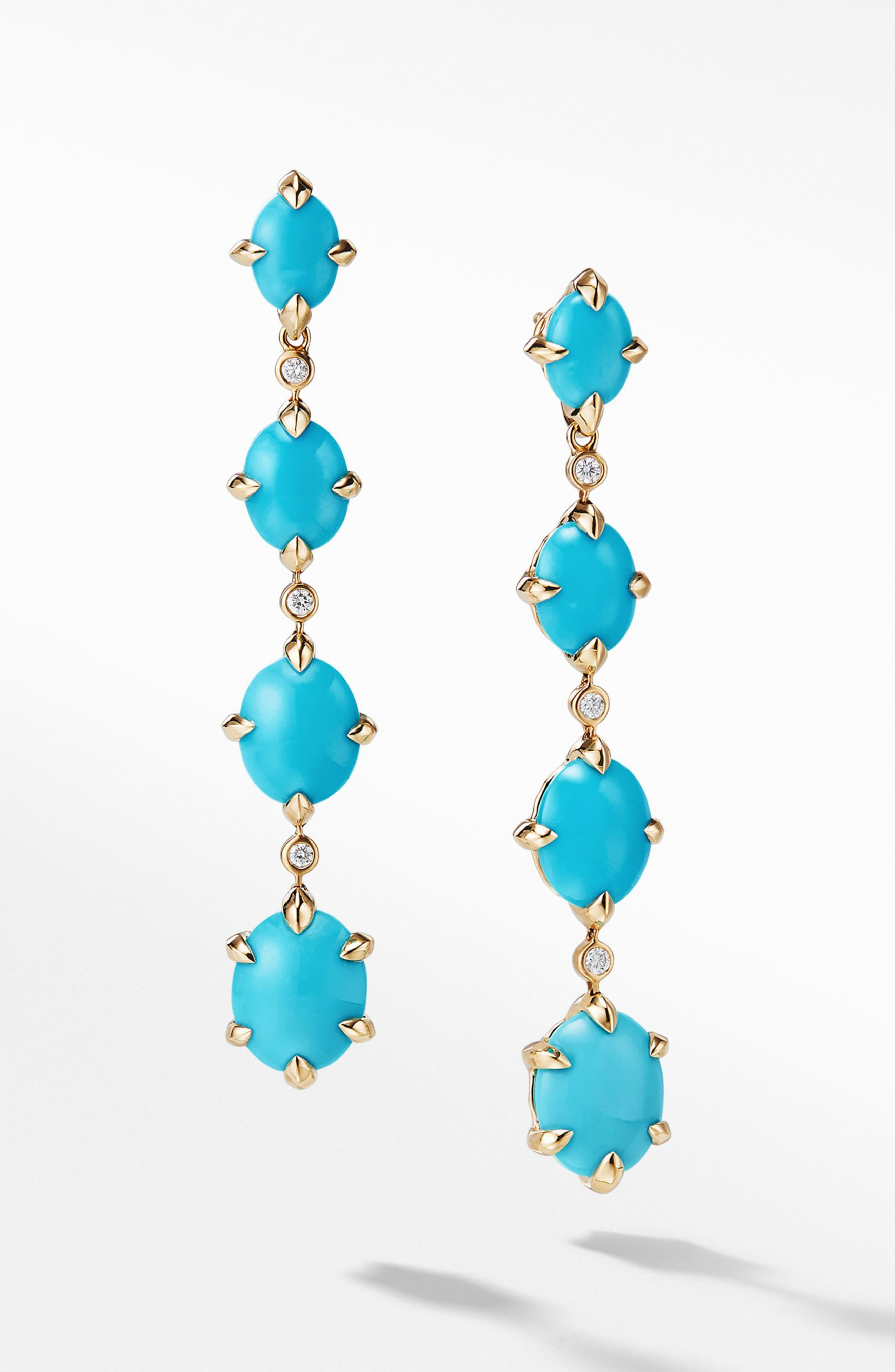 Chatelaine<sup>®</sup> 18k Gold Drop Earrings with Diamonds,                             Main thumbnail 1, color,                             GOLD/ DIAMOND/ TURQUOISE