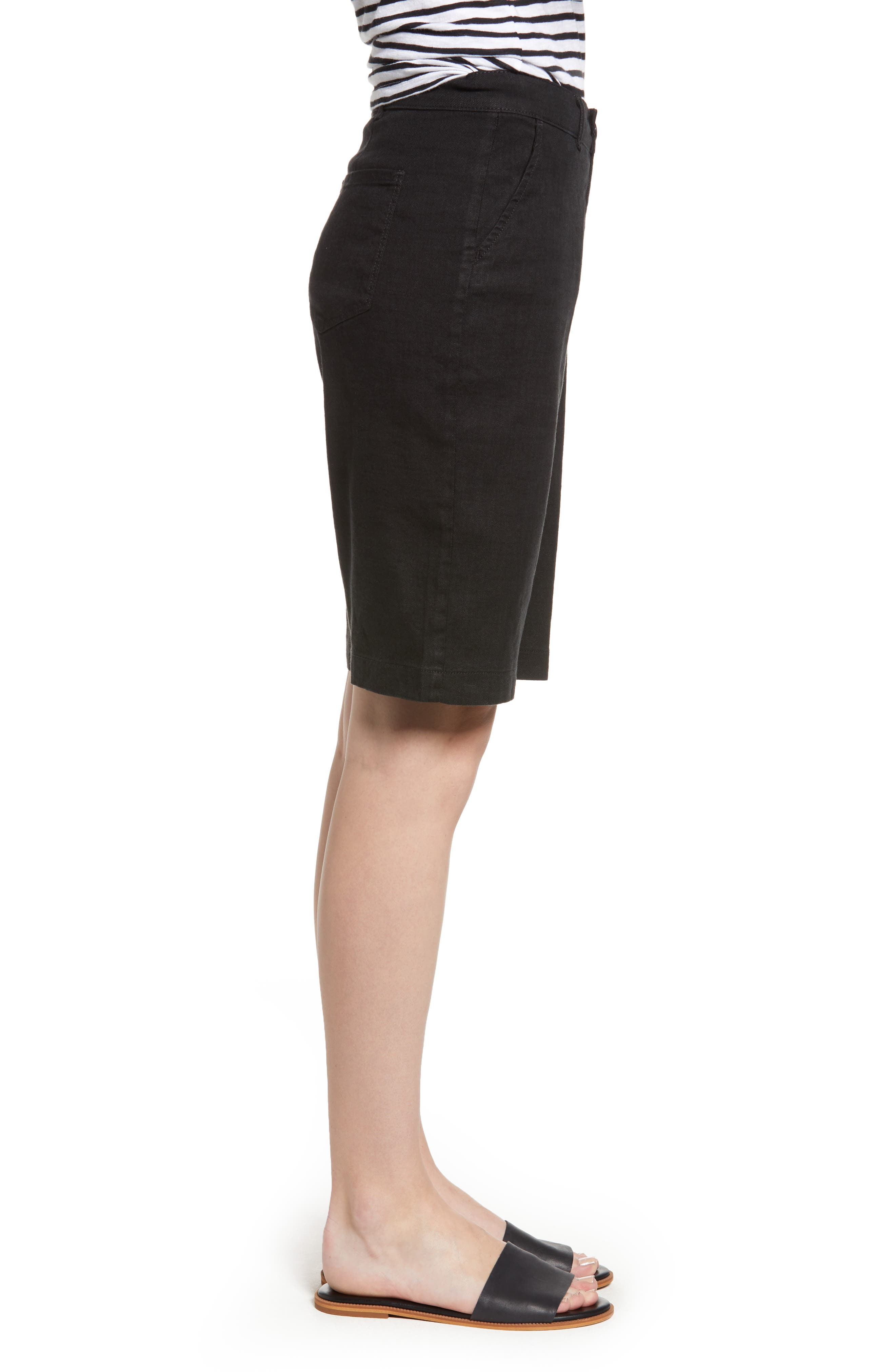 Stretch Linen Blend Bermuda Shorts,                             Alternate thumbnail 3, color,                             001
