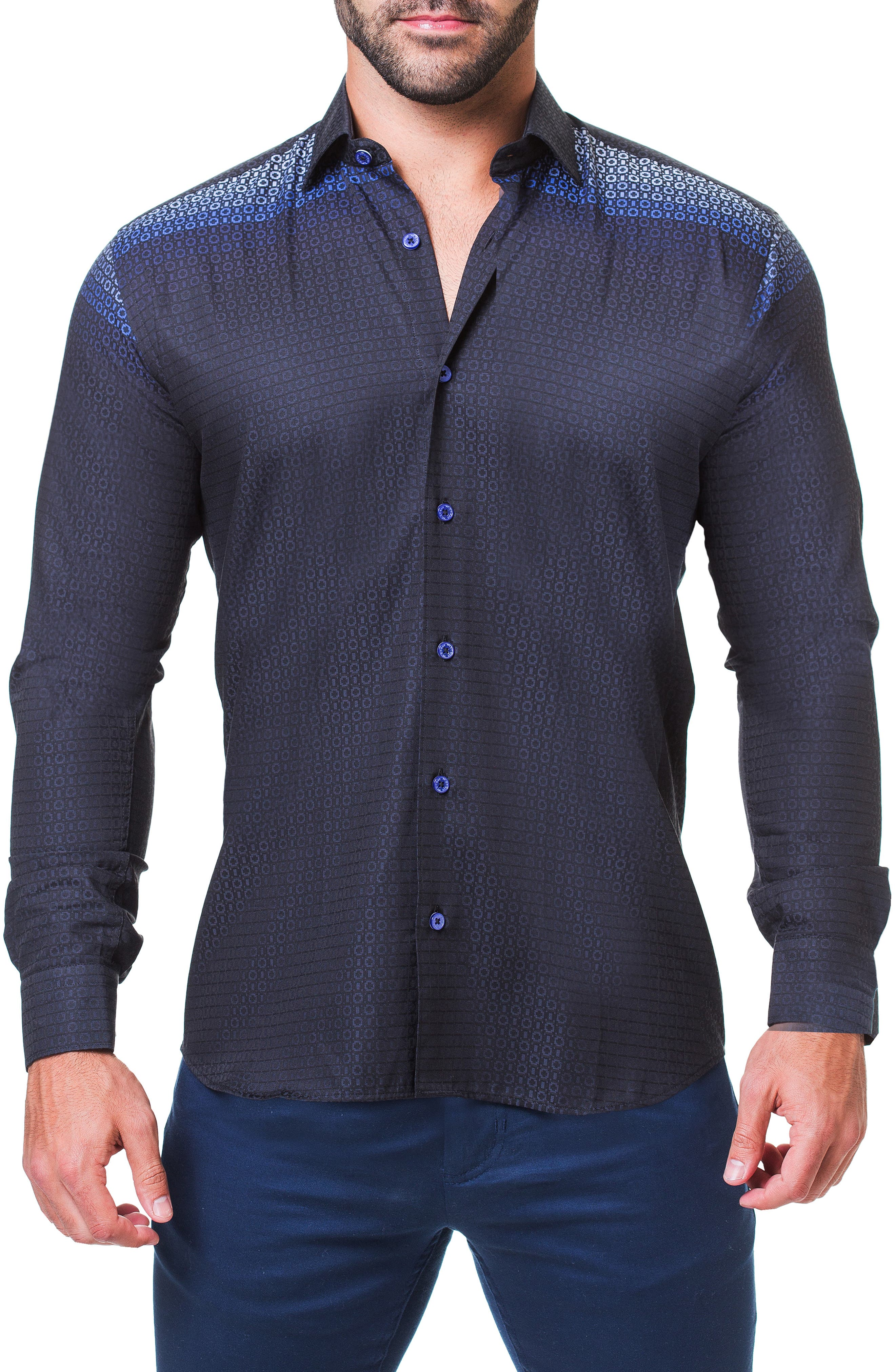 Fibonacci Mondrian Trim Fit Sport Shirt,                         Main,                         color, BLUE