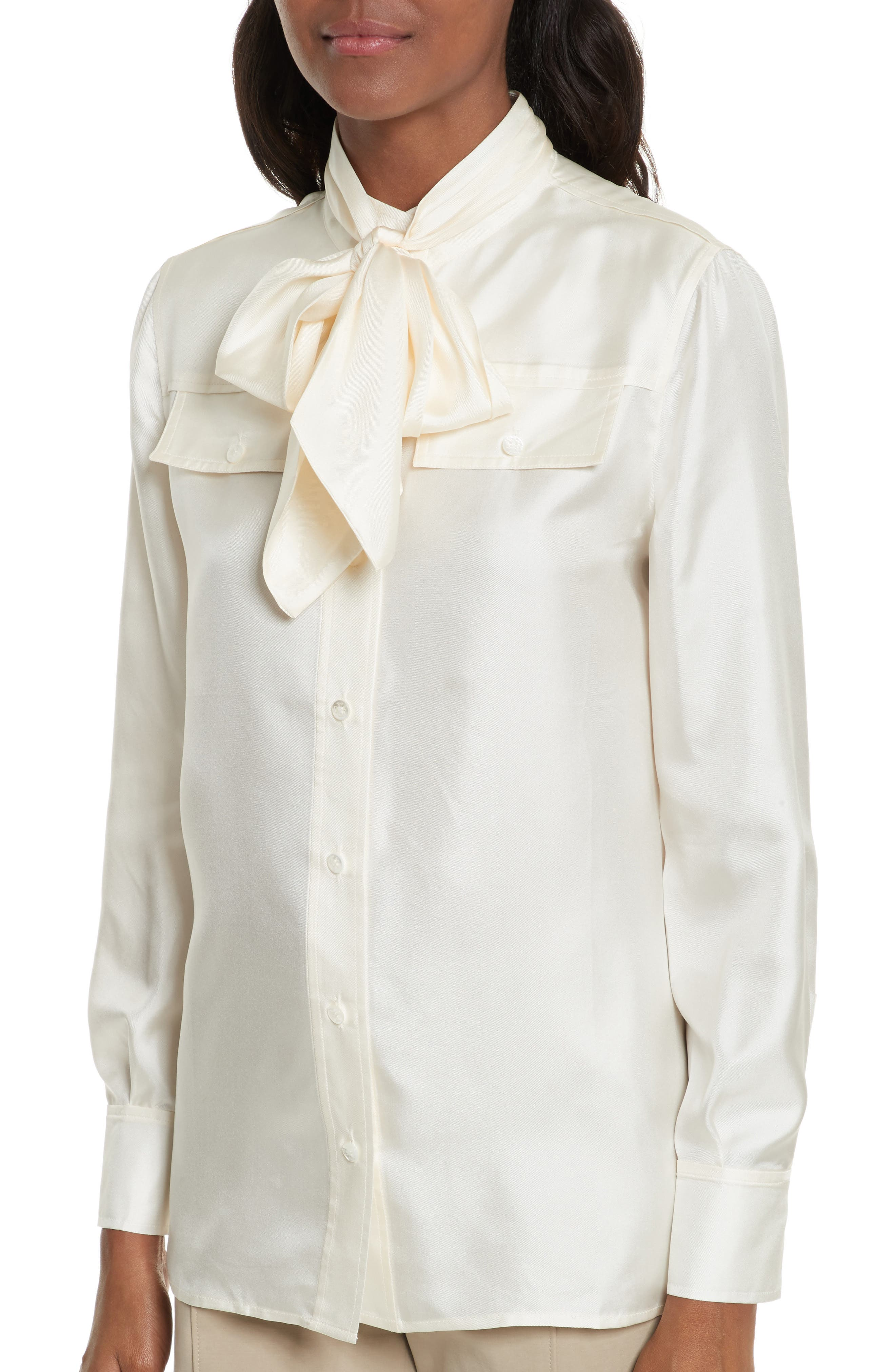 TORY BURCH,                             Holly Tie Neck Silk Blouse,                             Alternate thumbnail 4, color,                             904