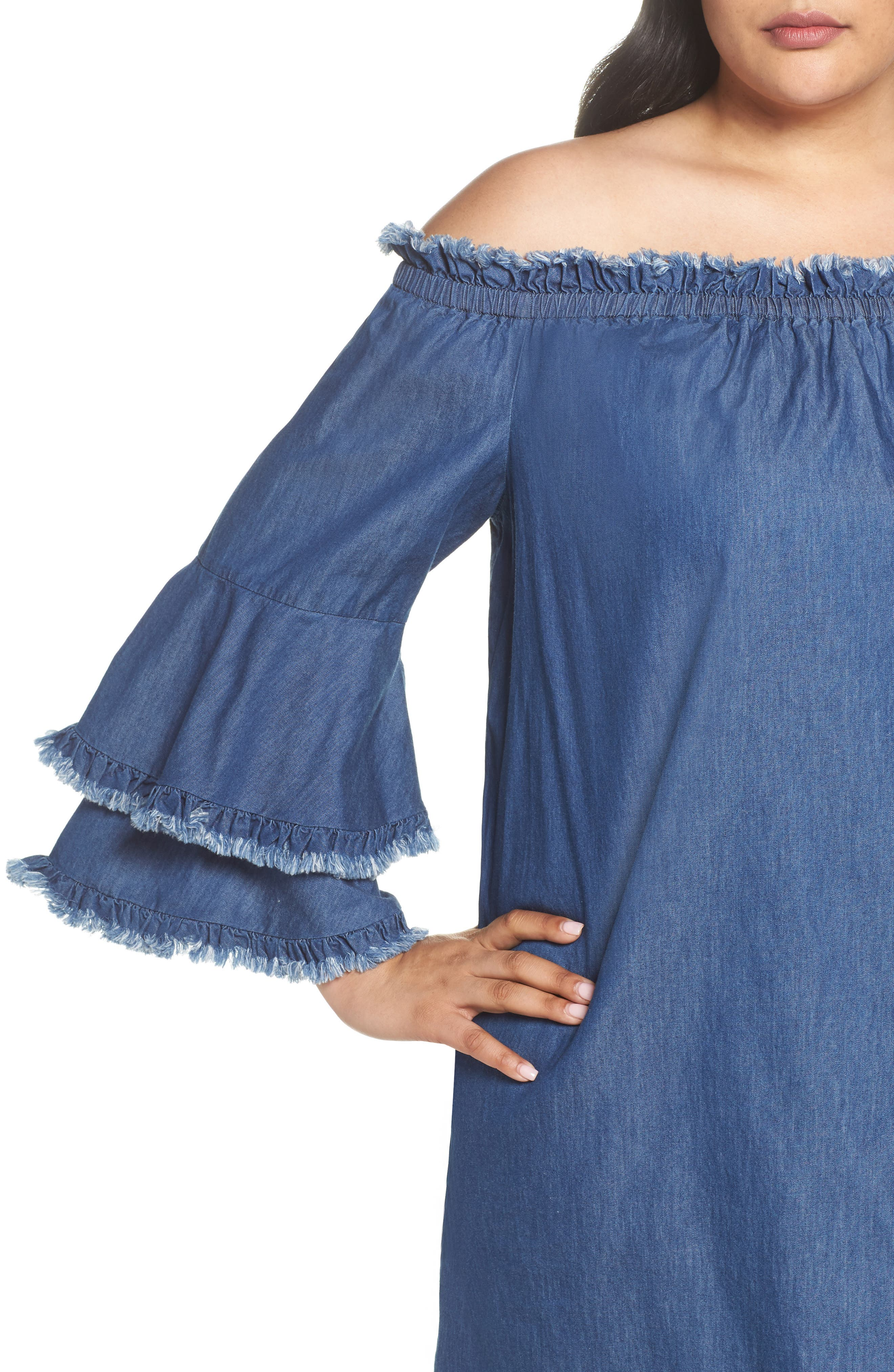 Bell Sleeve Off the Shoulder Denim Shift Dress,                             Alternate thumbnail 4, color,                             INDIGO