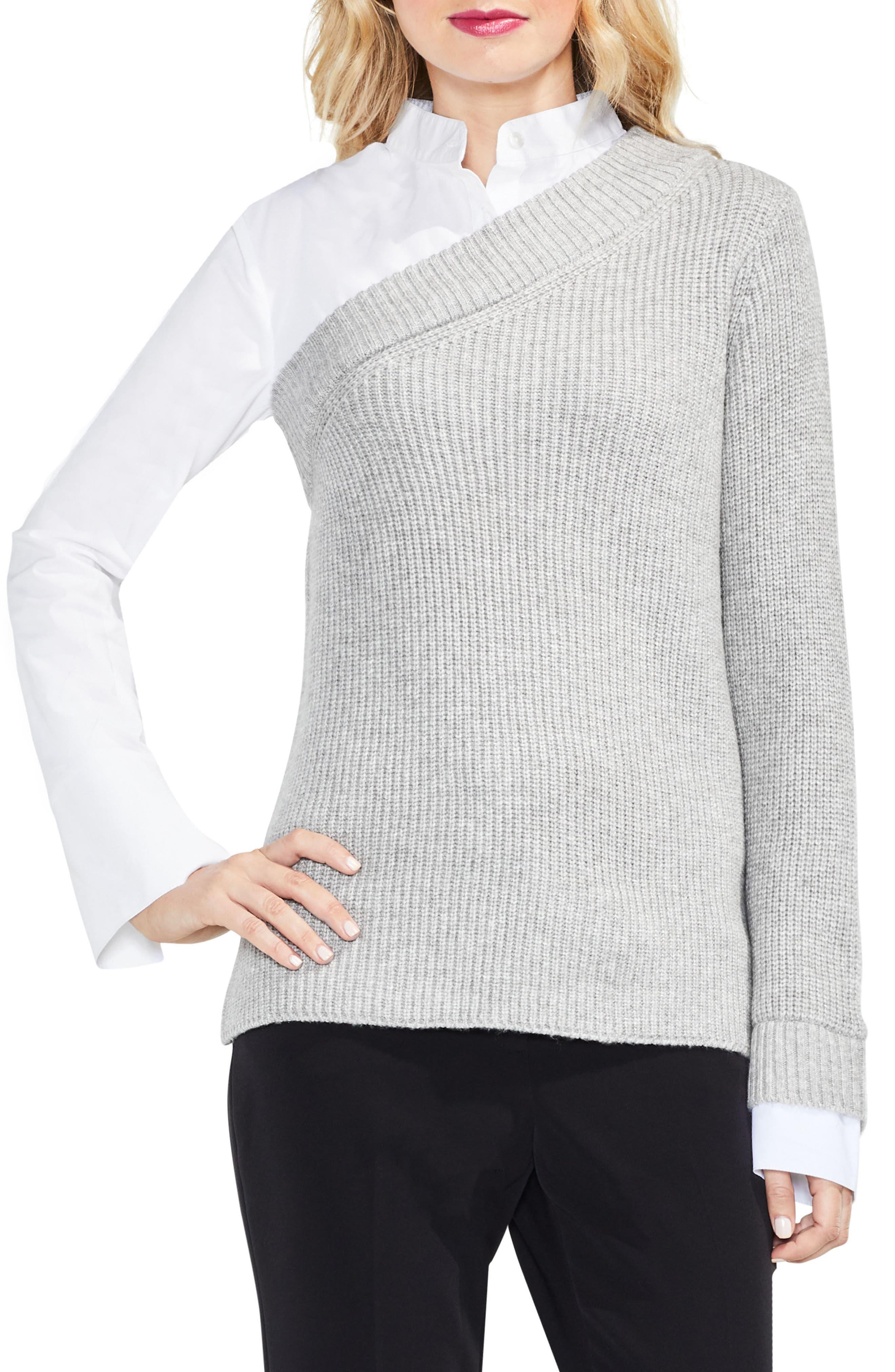 Mix Media Layered Sweater,                             Main thumbnail 2, color,