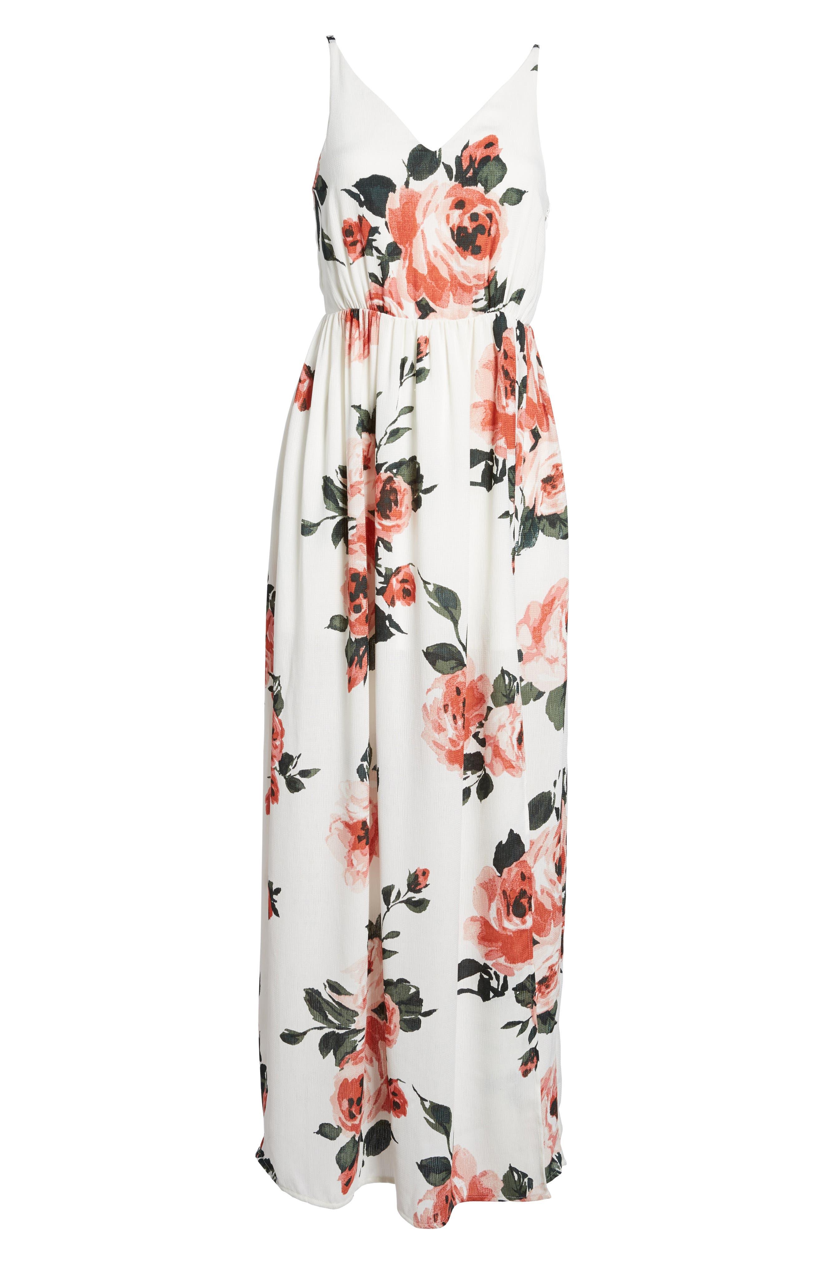 Floral Print Maxi Dress,                             Alternate thumbnail 7, color,                             100