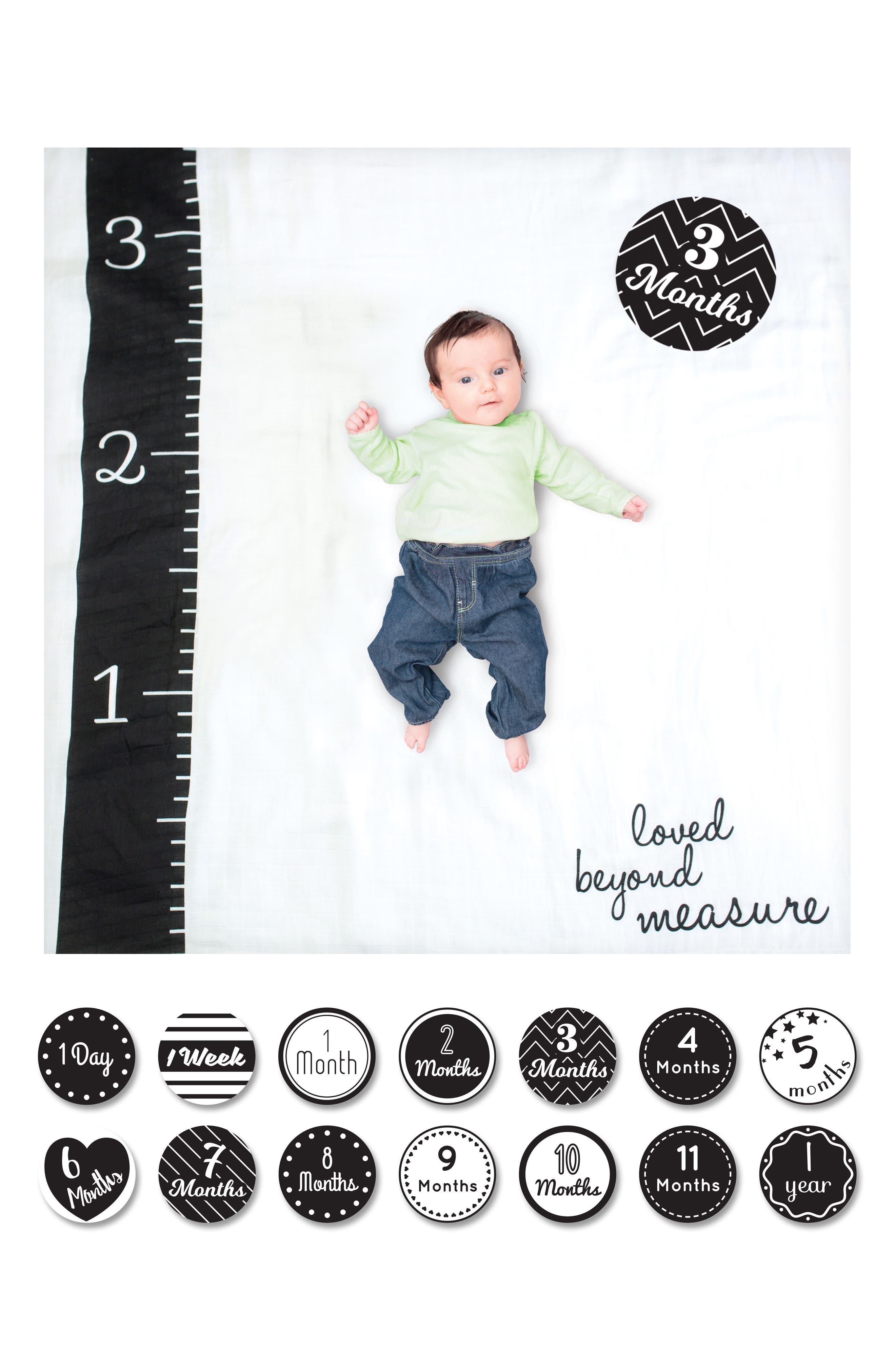 Baby's First Year - Loved Beyond Measure Muslin Blanket & Milestone Card Set,                             Alternate thumbnail 3, color,                             100