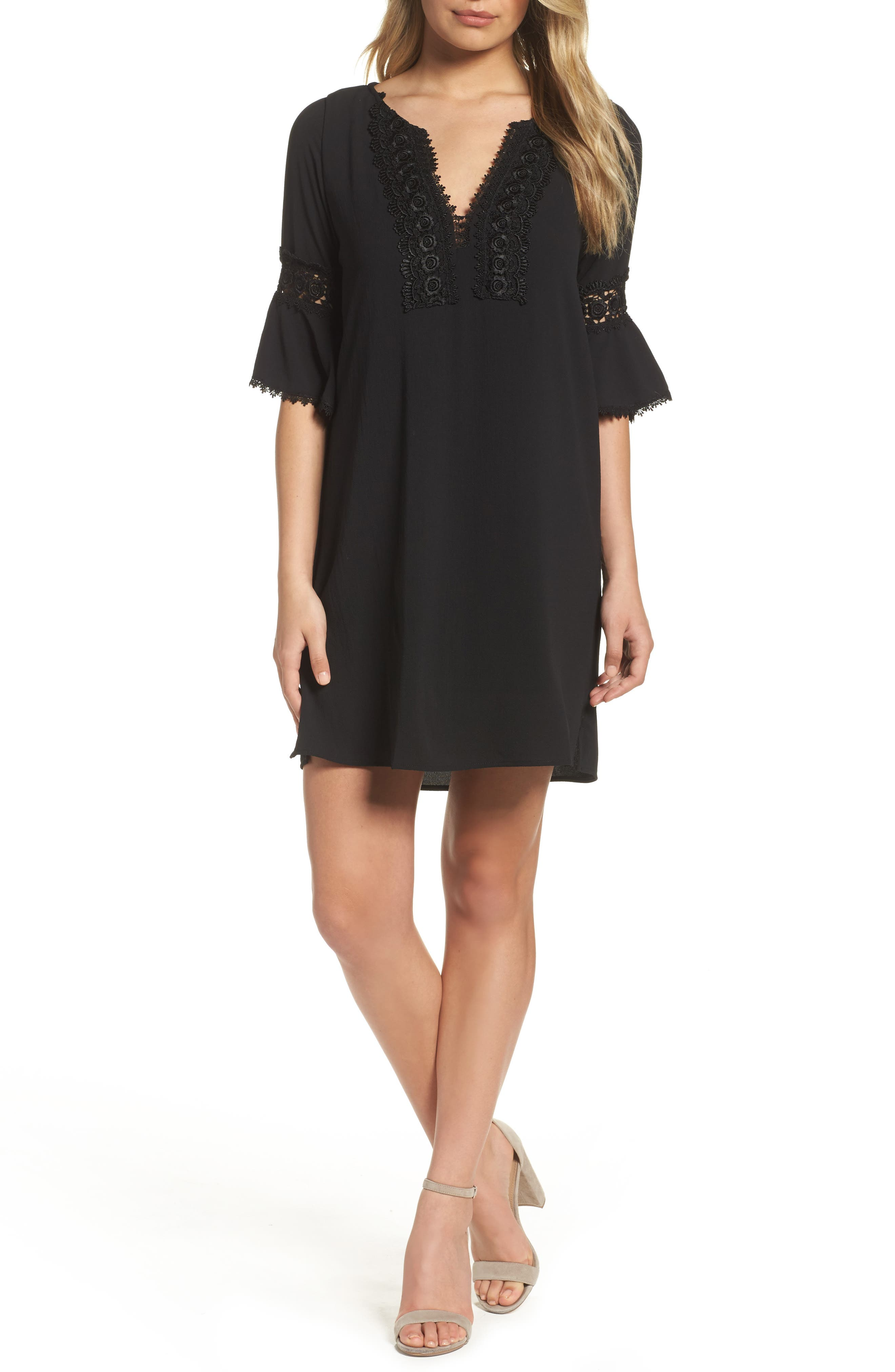 Bell Sleeve Shift Dress,                         Main,                         color, 002