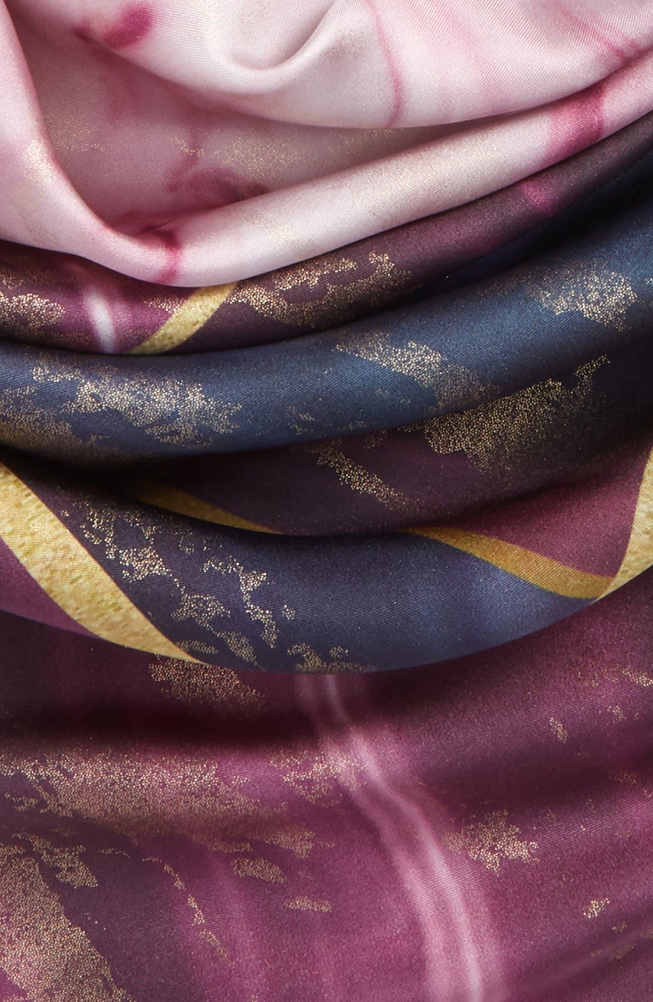 Balmoral Marble Square Silk Scarf,                             Alternate thumbnail 3, color,                             501