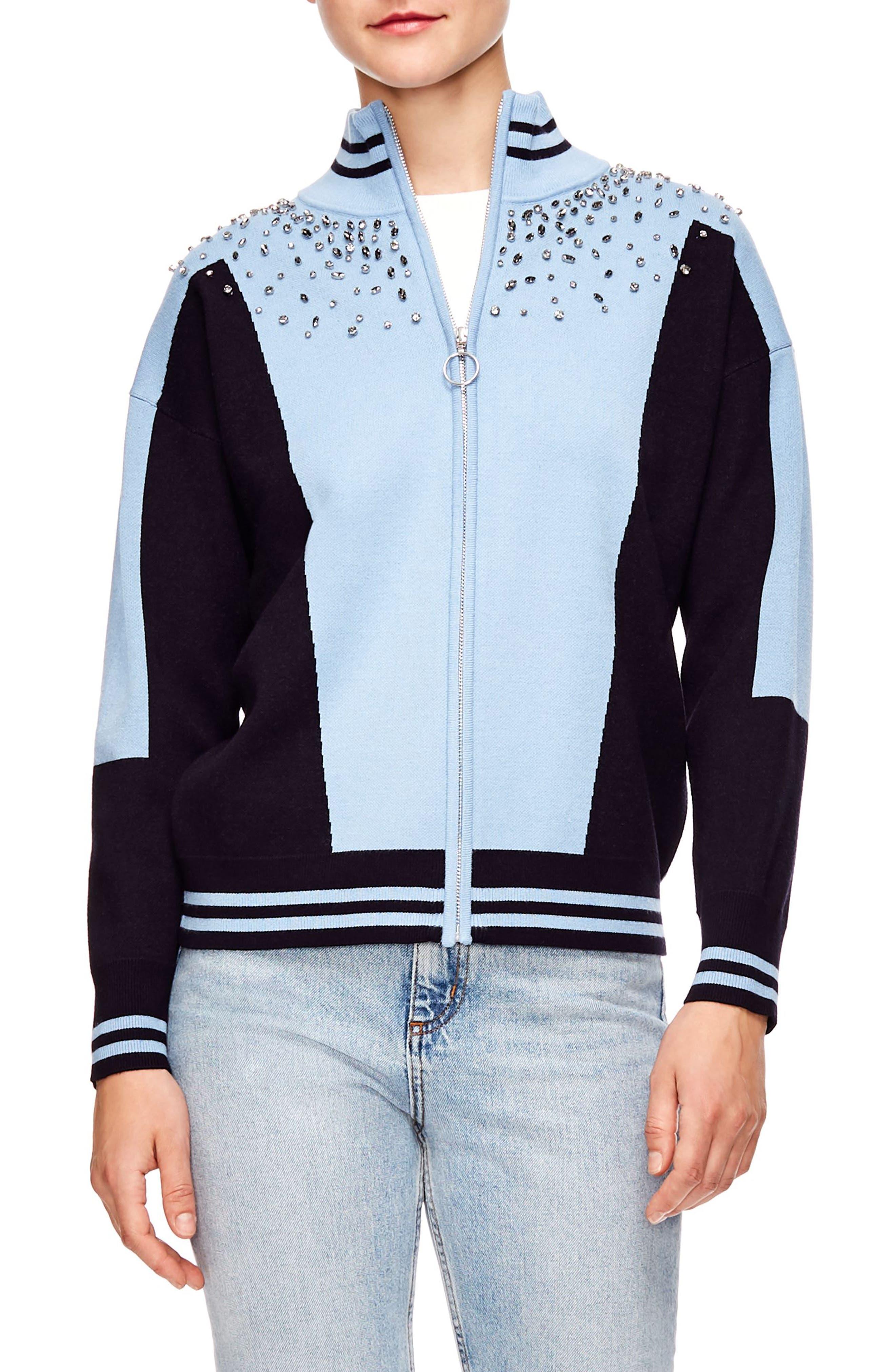 Embellished Sweater Jacket,                             Main thumbnail 1, color,                             SKY BLUE