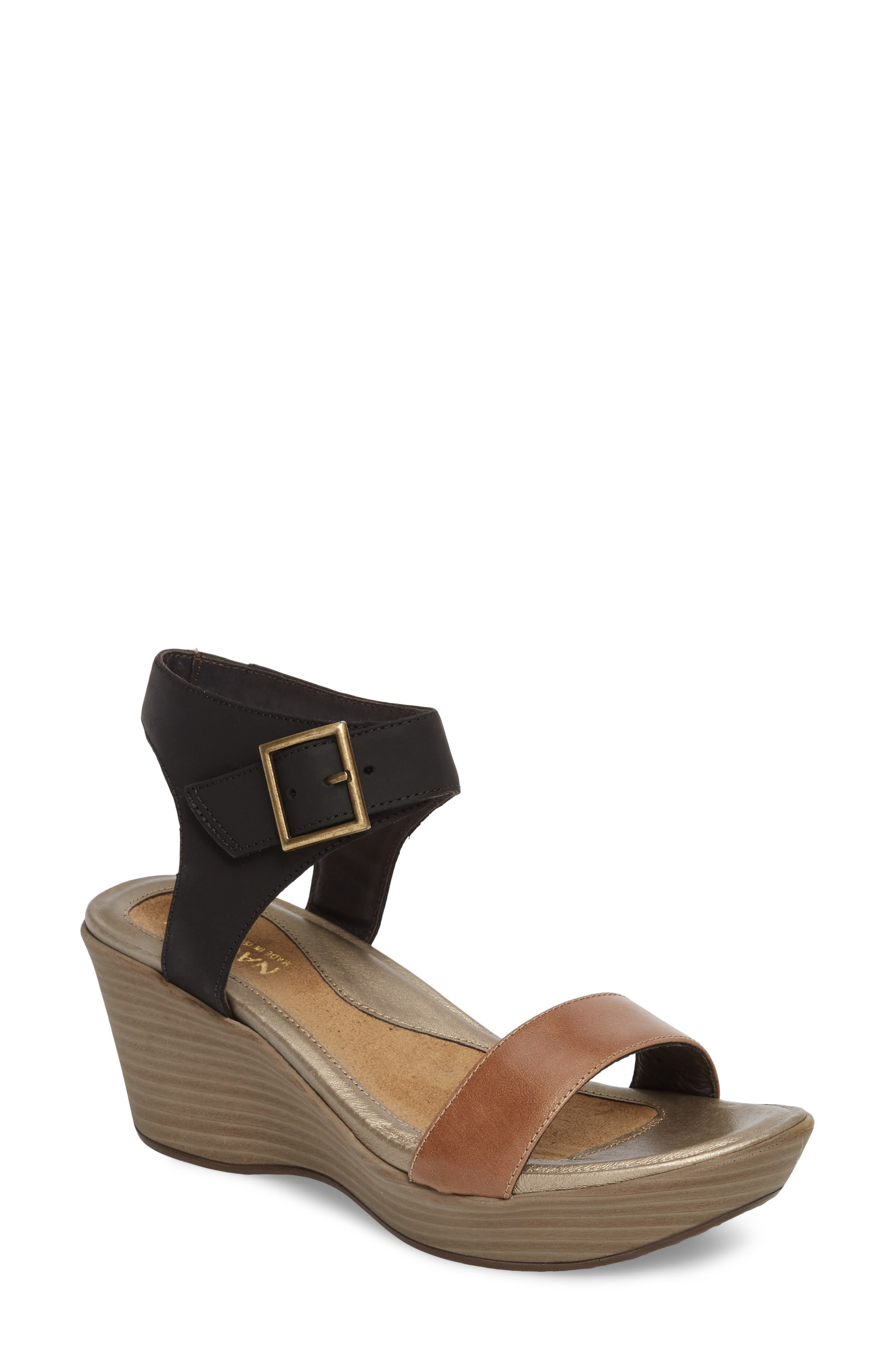 Caprice Wedge Sandal,                         Main,                         color, TAN LEATHER