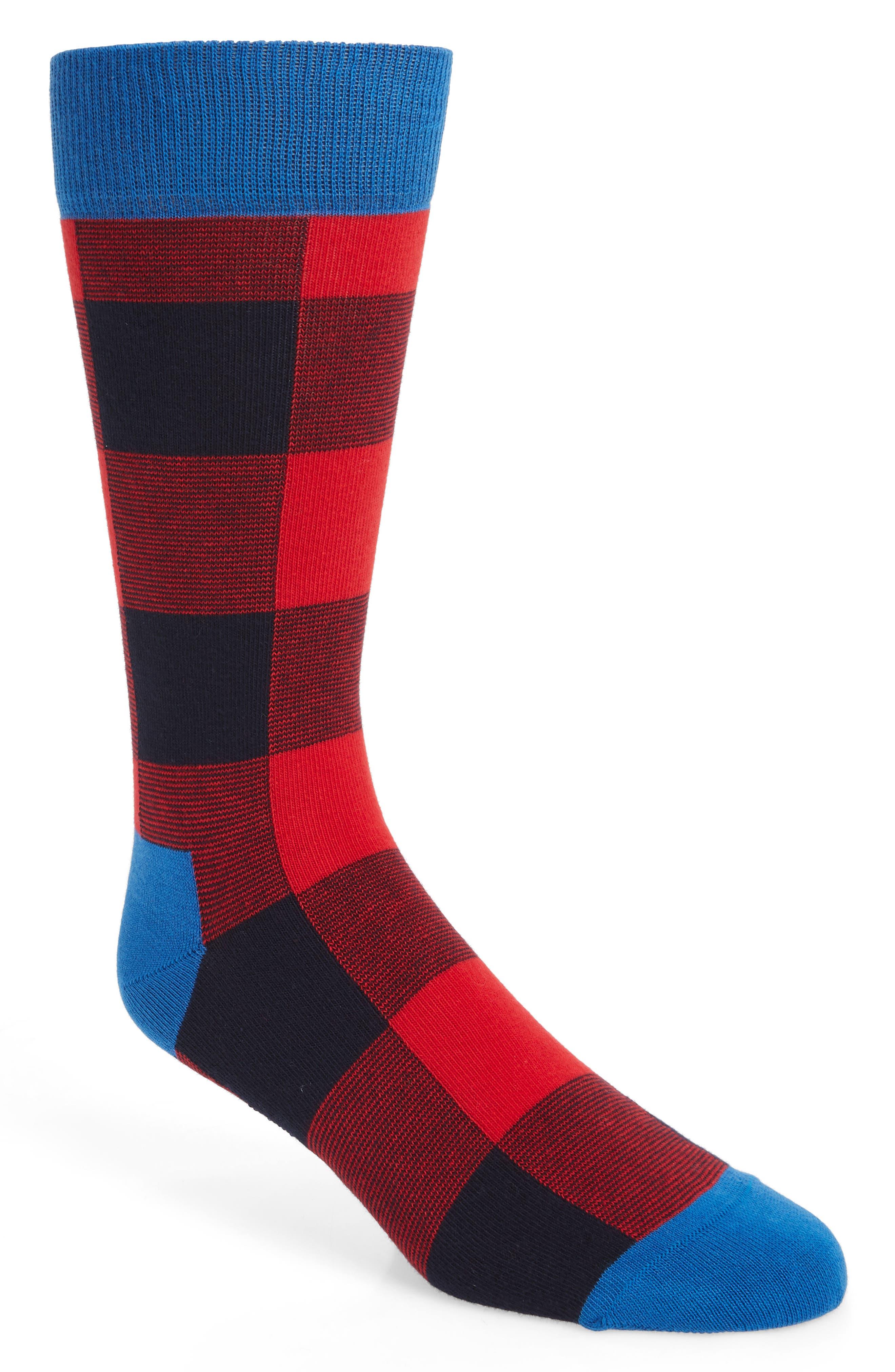 HAPPY SOCKS Lumberjack Check Socks in Red