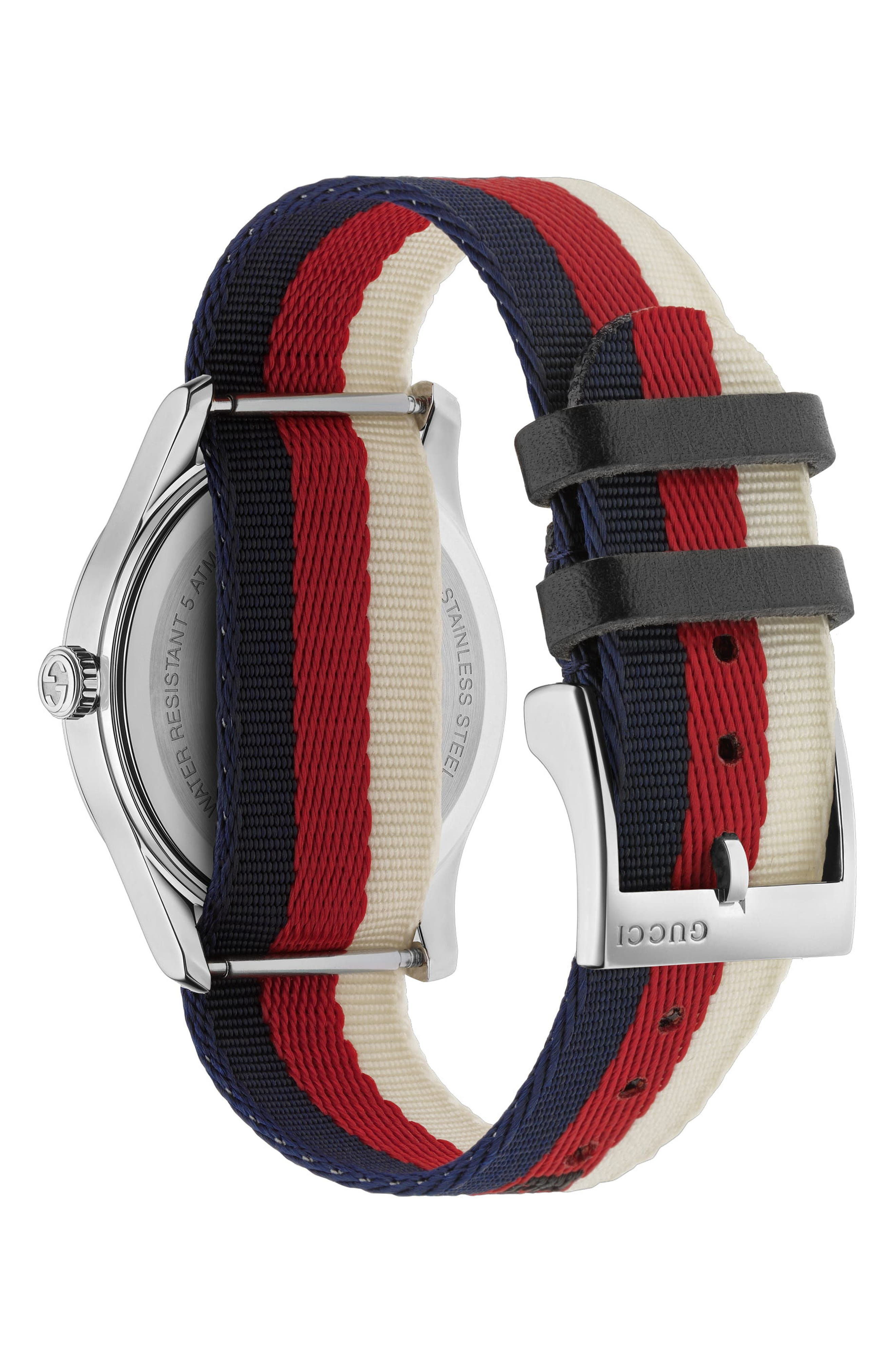 G-Timeless Nylon Strap Watch, 38mm,                             Alternate thumbnail 2, color,                             CREAM/ RED/ BLUE/ SILVER