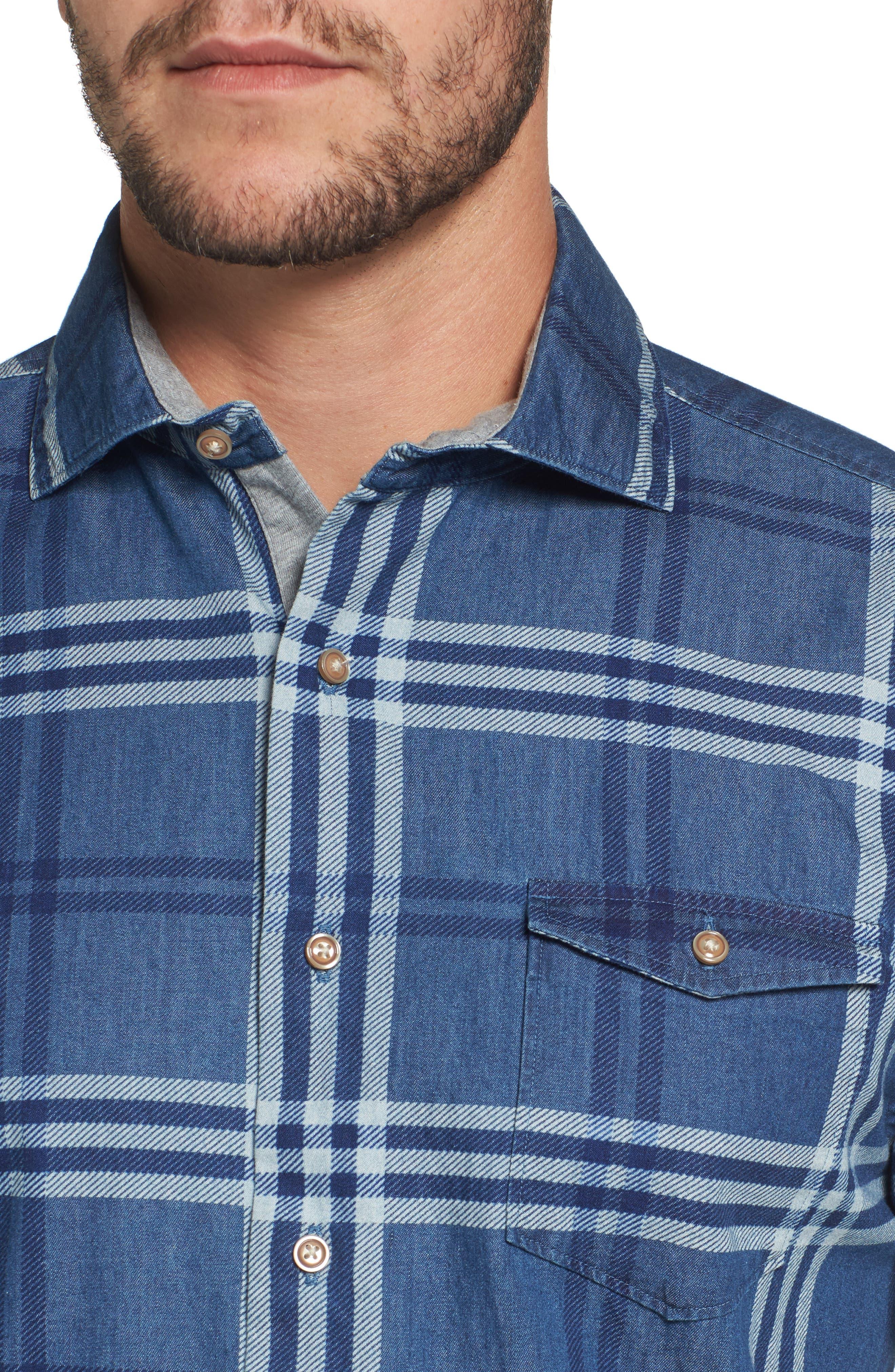 Breckenridge Plaid Sport Shirt,                             Alternate thumbnail 4, color,                             400
