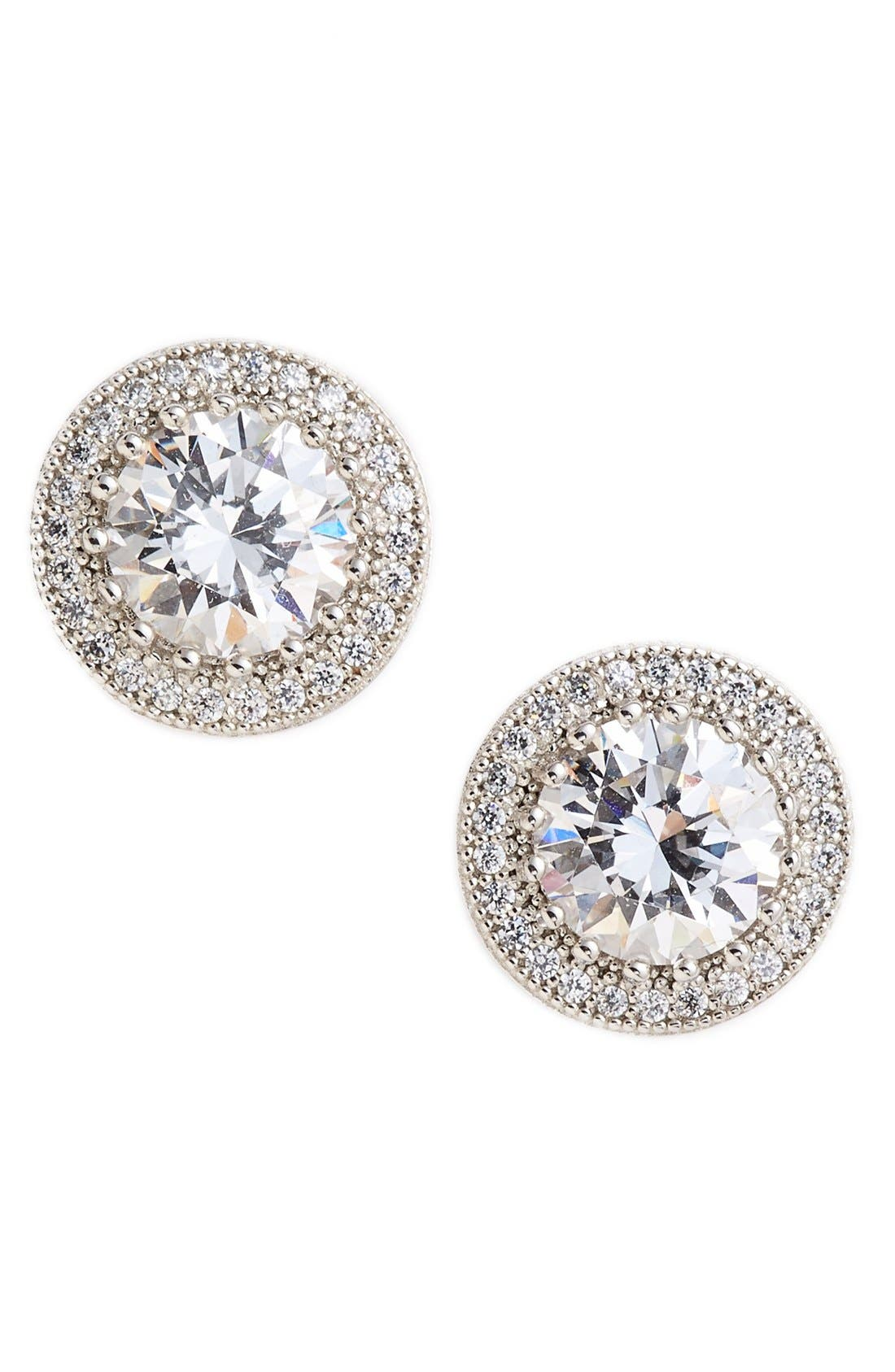 'Lassaire' Stud Earrings,                         Main,                         color, SILVER/ CLEAR
