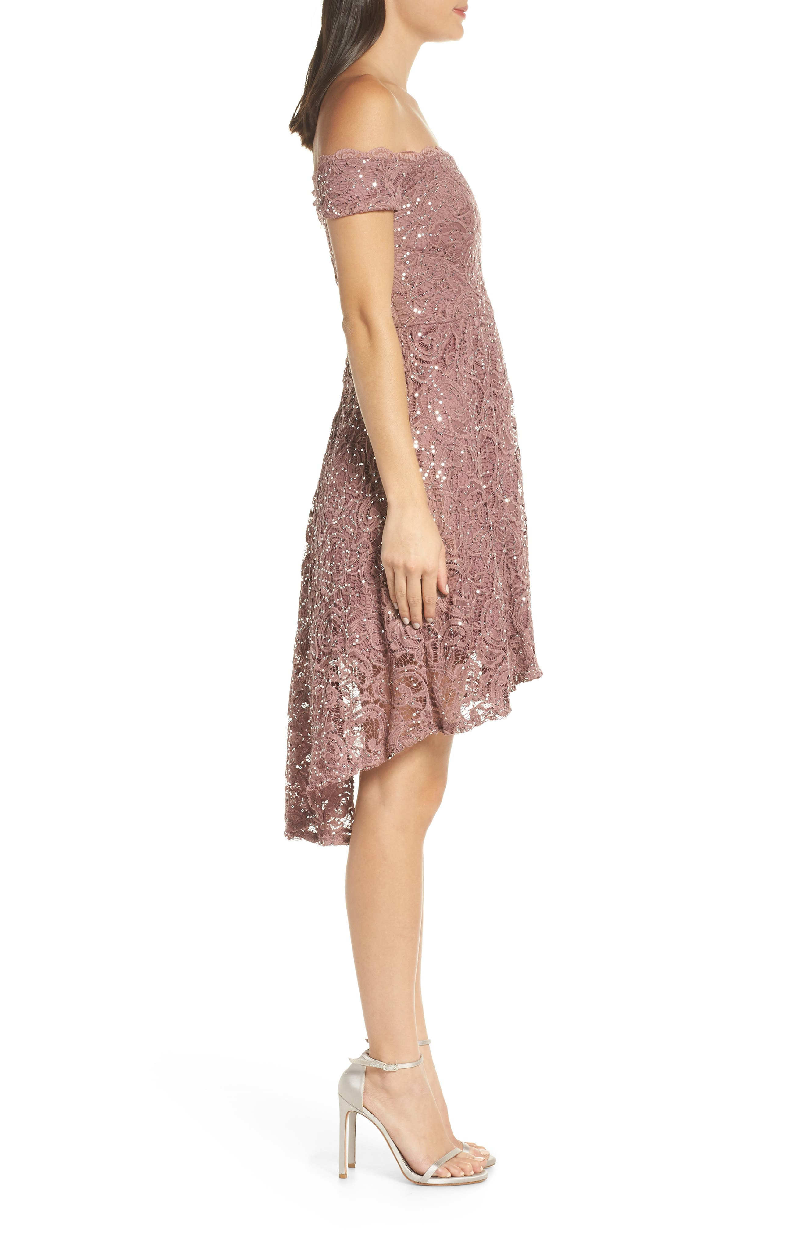 SEQUIN HEARTS,                             Off the Shoulder Sequin Lace Cocktail Dress,                             Alternate thumbnail 3, color,                             TAUPE/ SILVER