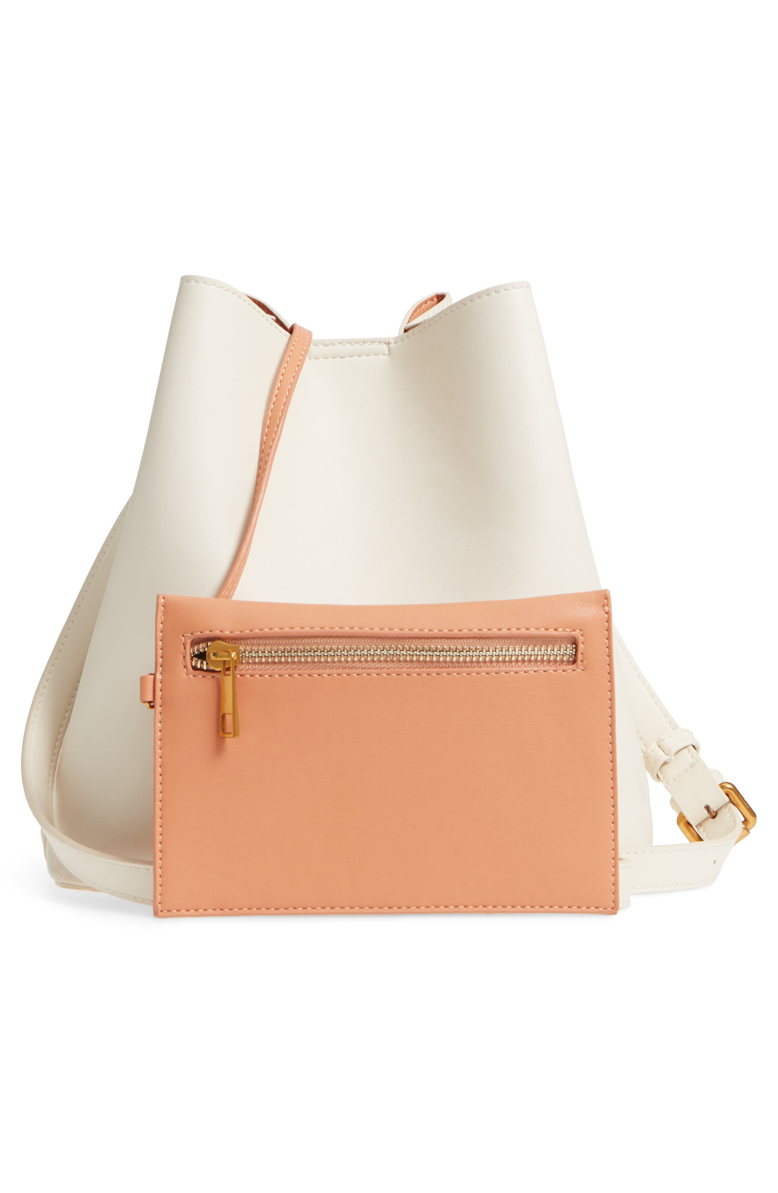 STREET LEVEL,                             Faux Leather Bucket Tote,                             Alternate thumbnail 3, color,                             100