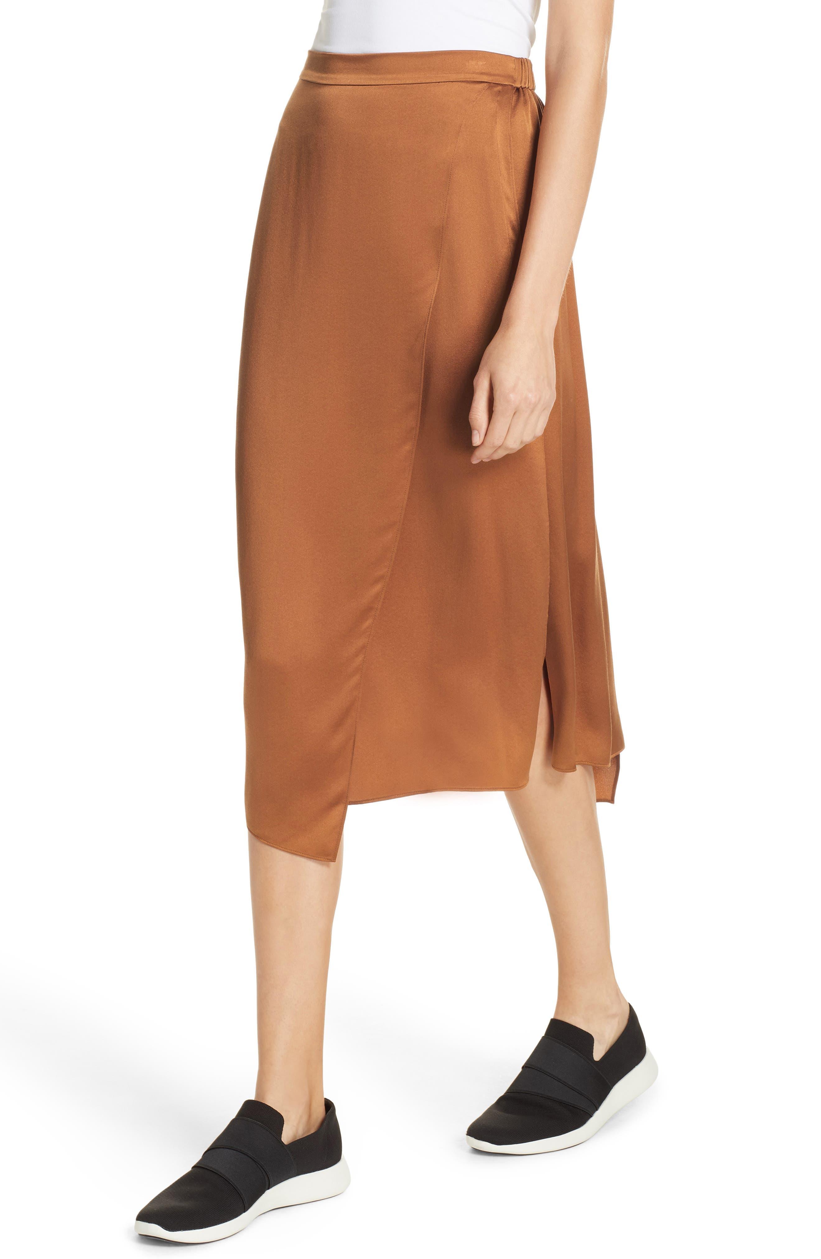 Drape Panel Silk Skirt,                             Alternate thumbnail 4, color,                             LIGHT COPPER