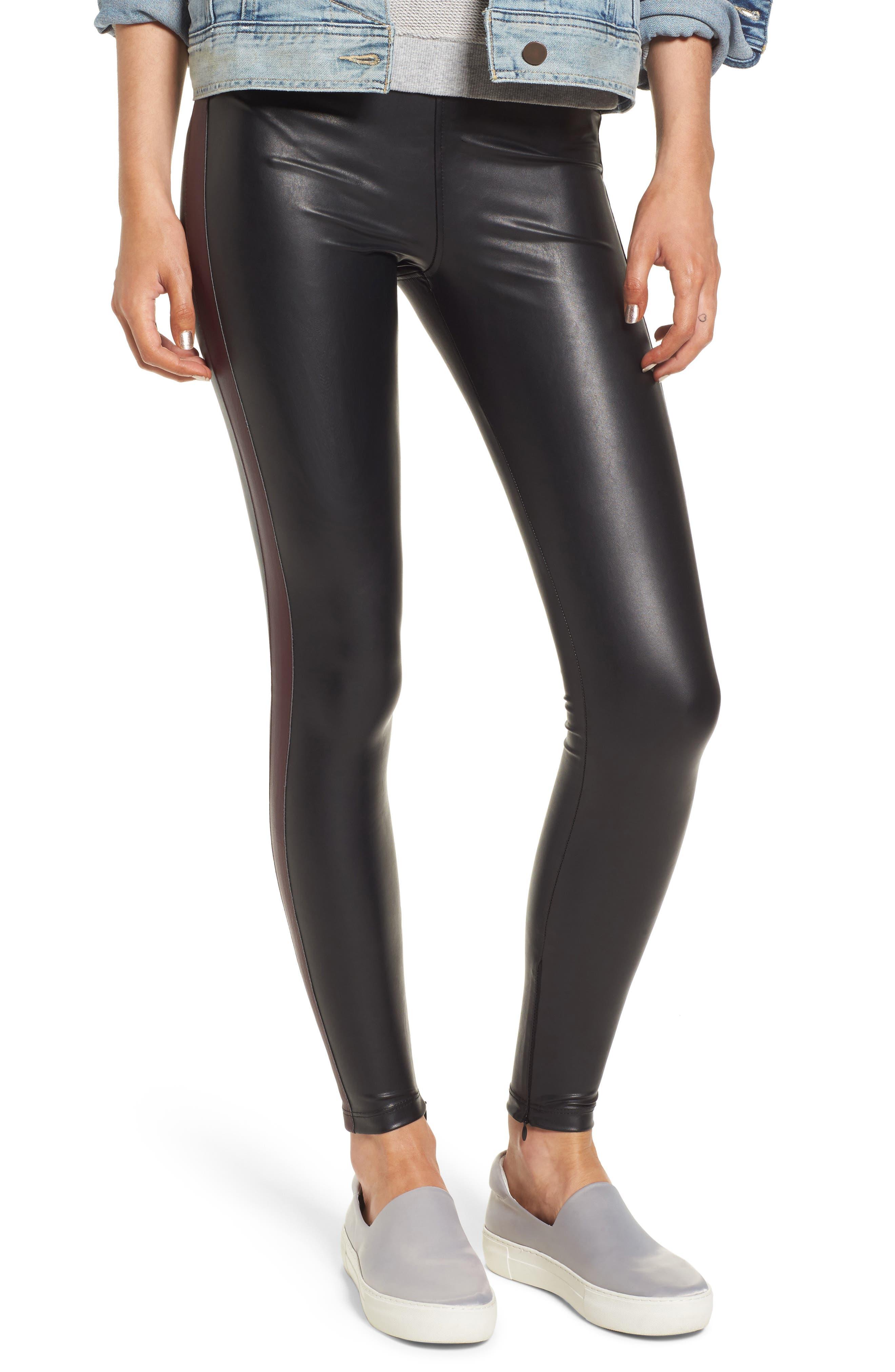 Tuxedo Stripe Zip Faux Leather Leggings,                             Main thumbnail 2, color,