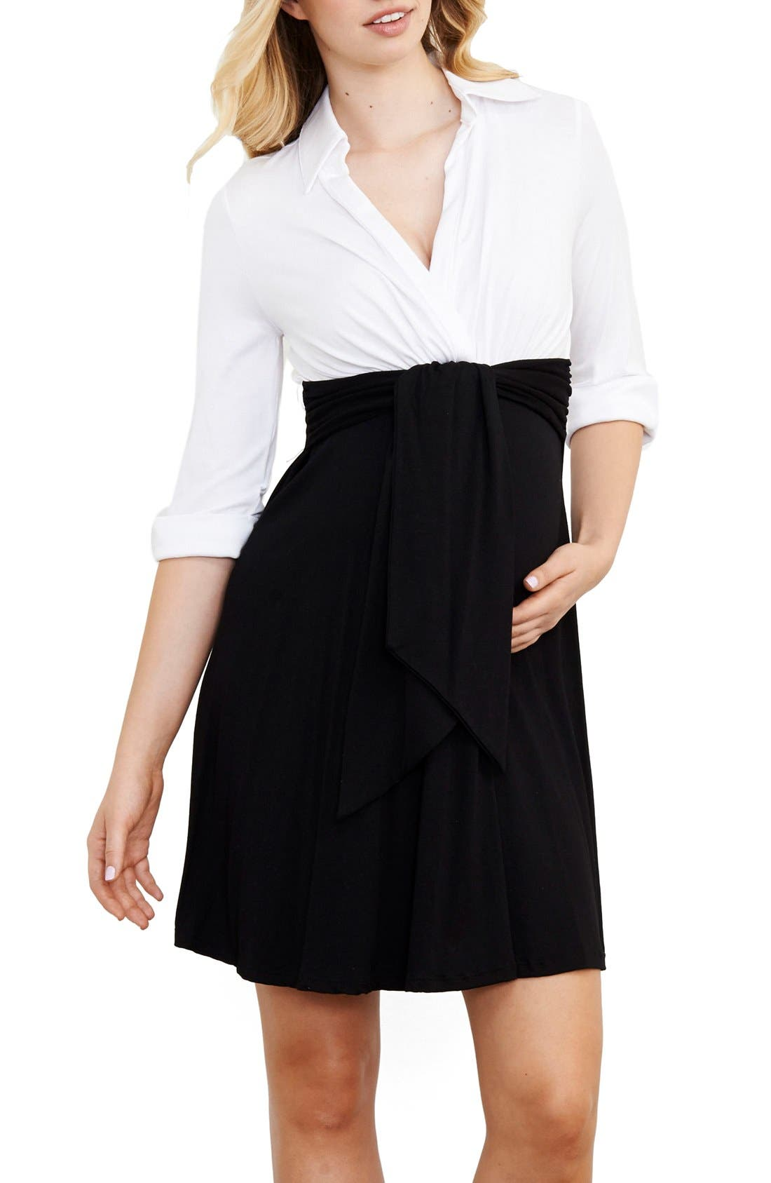 Maternity Shirtdress,                             Main thumbnail 1, color,                             WHITE/ BLACK