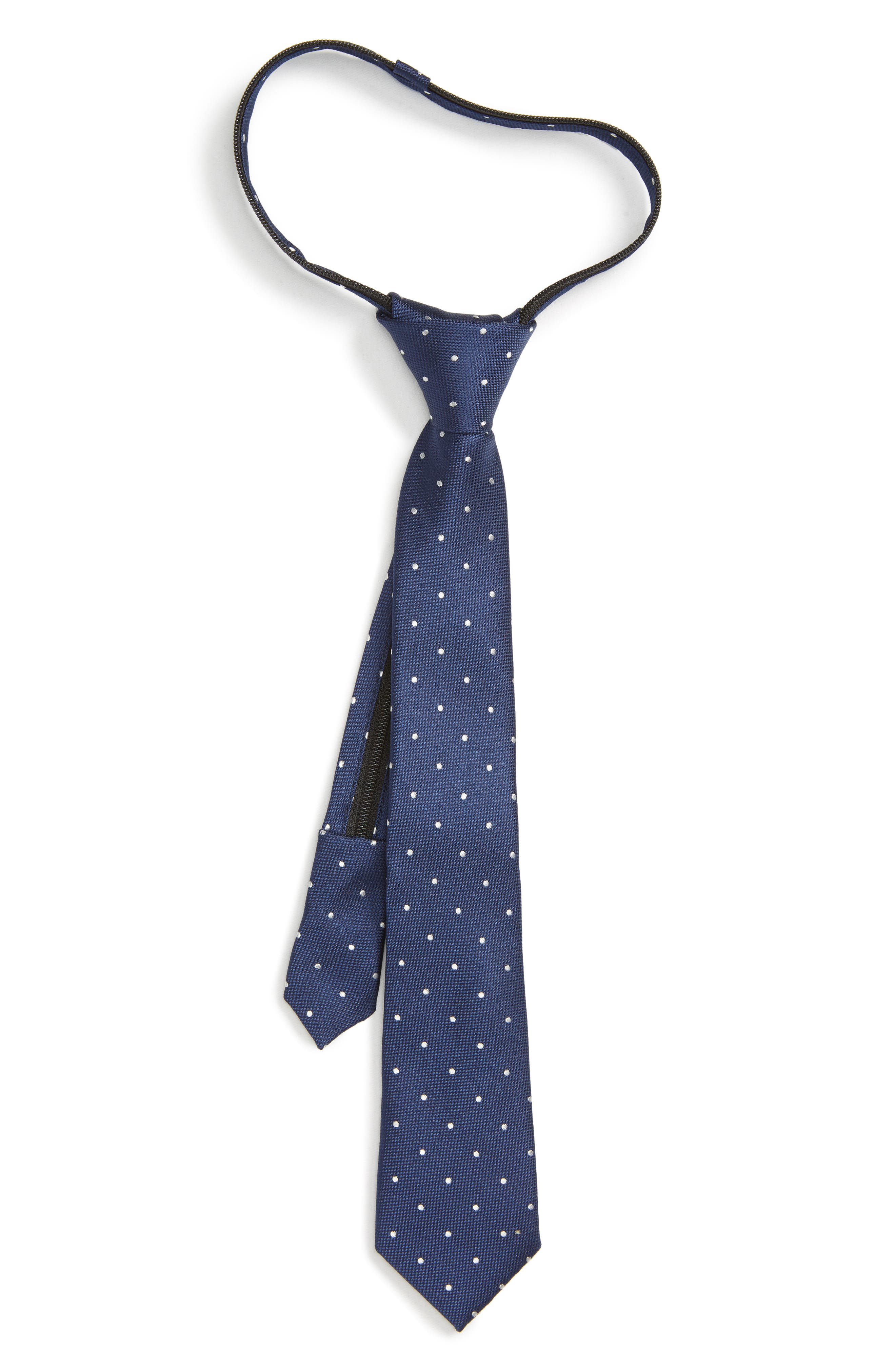Dot Silk Zip Tie,                             Main thumbnail 1, color,                             NAVY