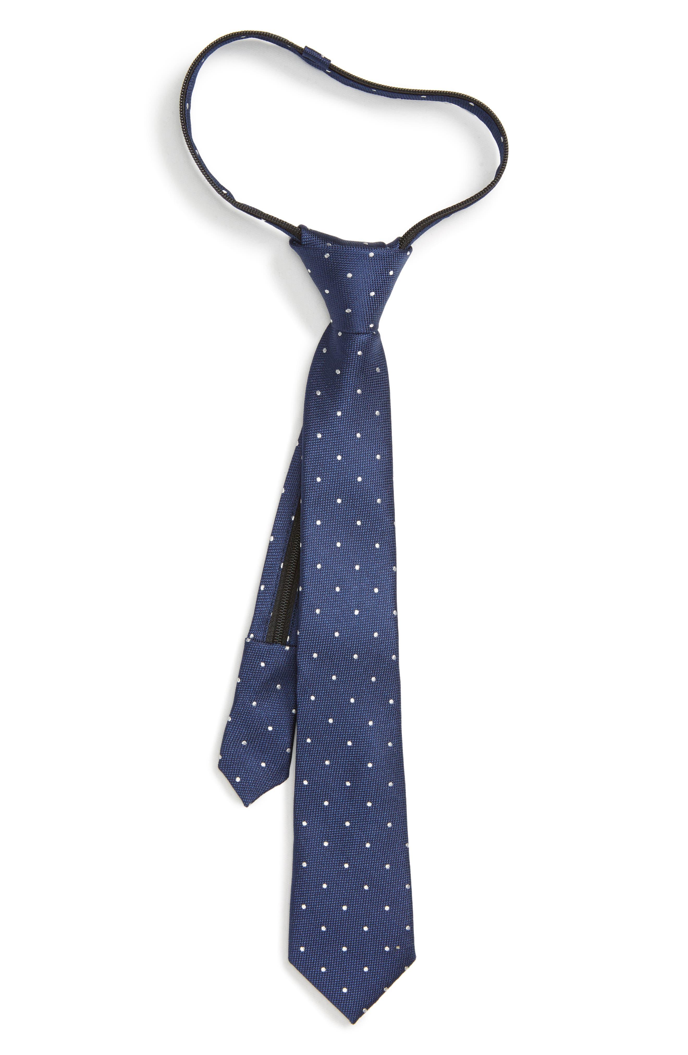 Dot Silk Zip Tie,                         Main,                         color, NAVY