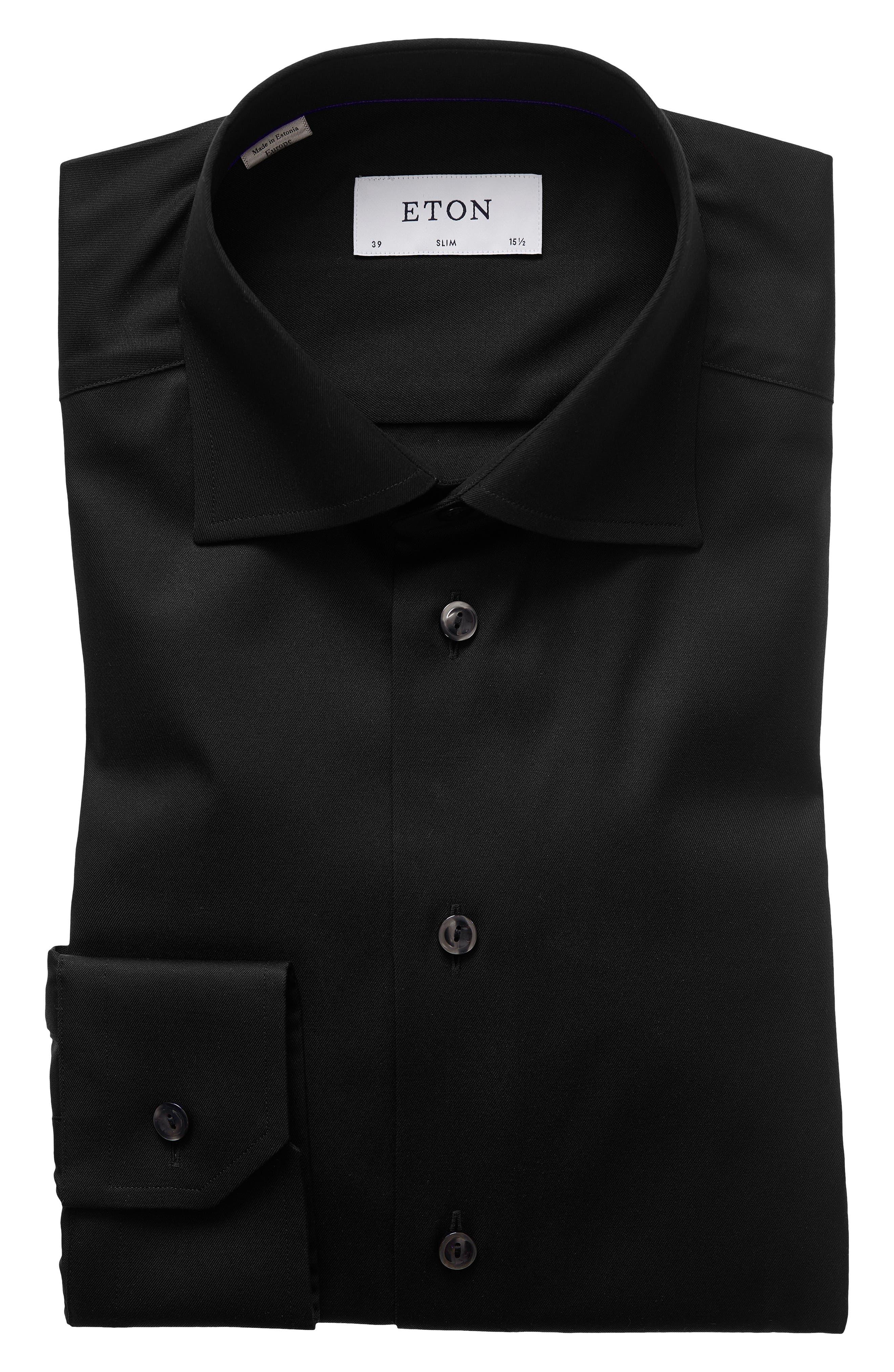 Slim Fit Twill Dress Shirt,                             Alternate thumbnail 3, color,                             BLACK