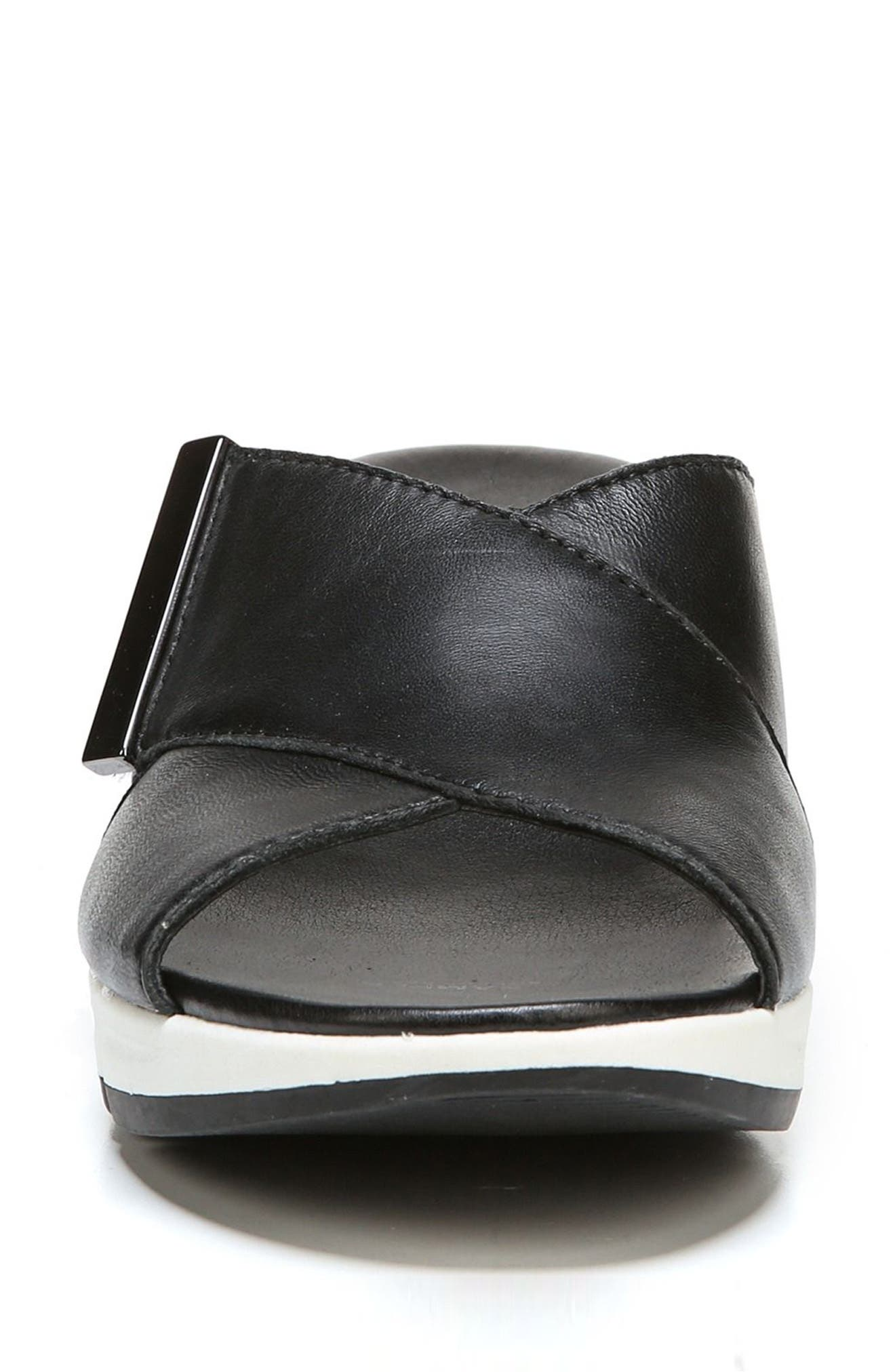 Izzy Wedge Sandal,                             Alternate thumbnail 4, color,                             BLACK LEATHER