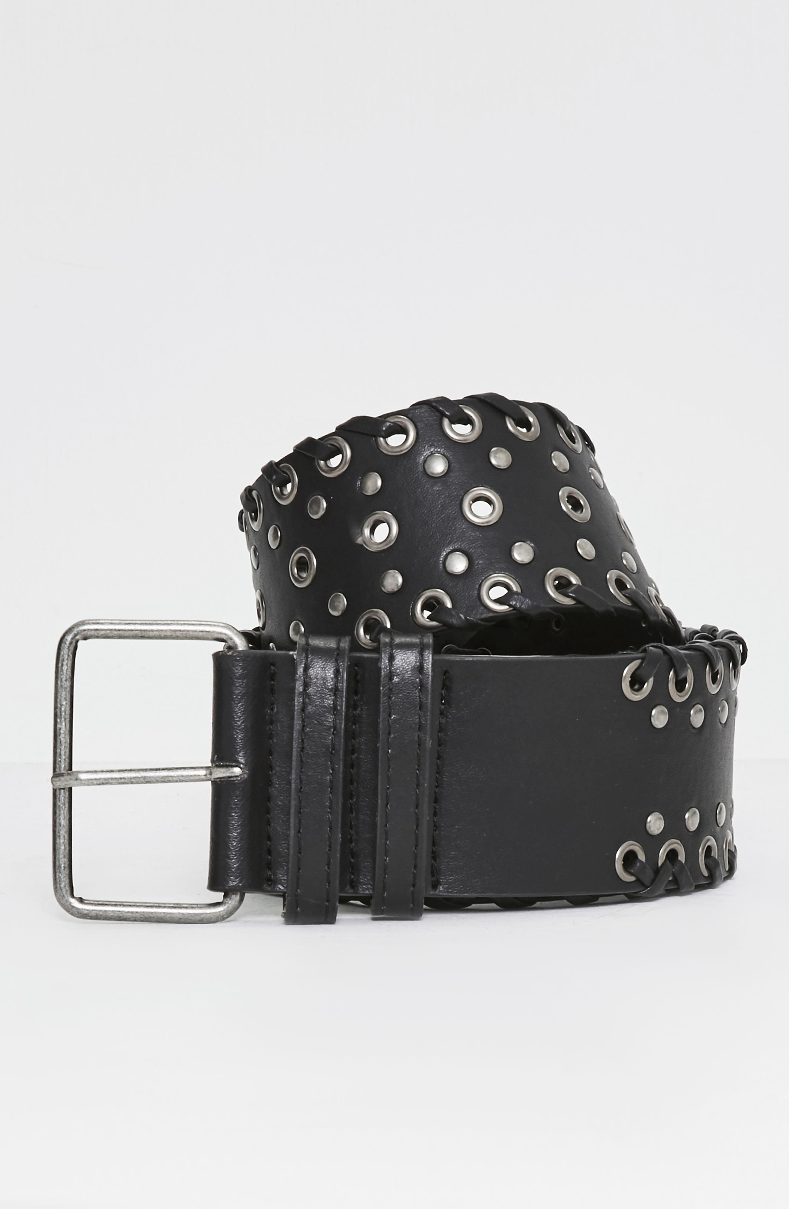 Wide Whipstitch Faux Leather Belt,                             Alternate thumbnail 3, color,                             001