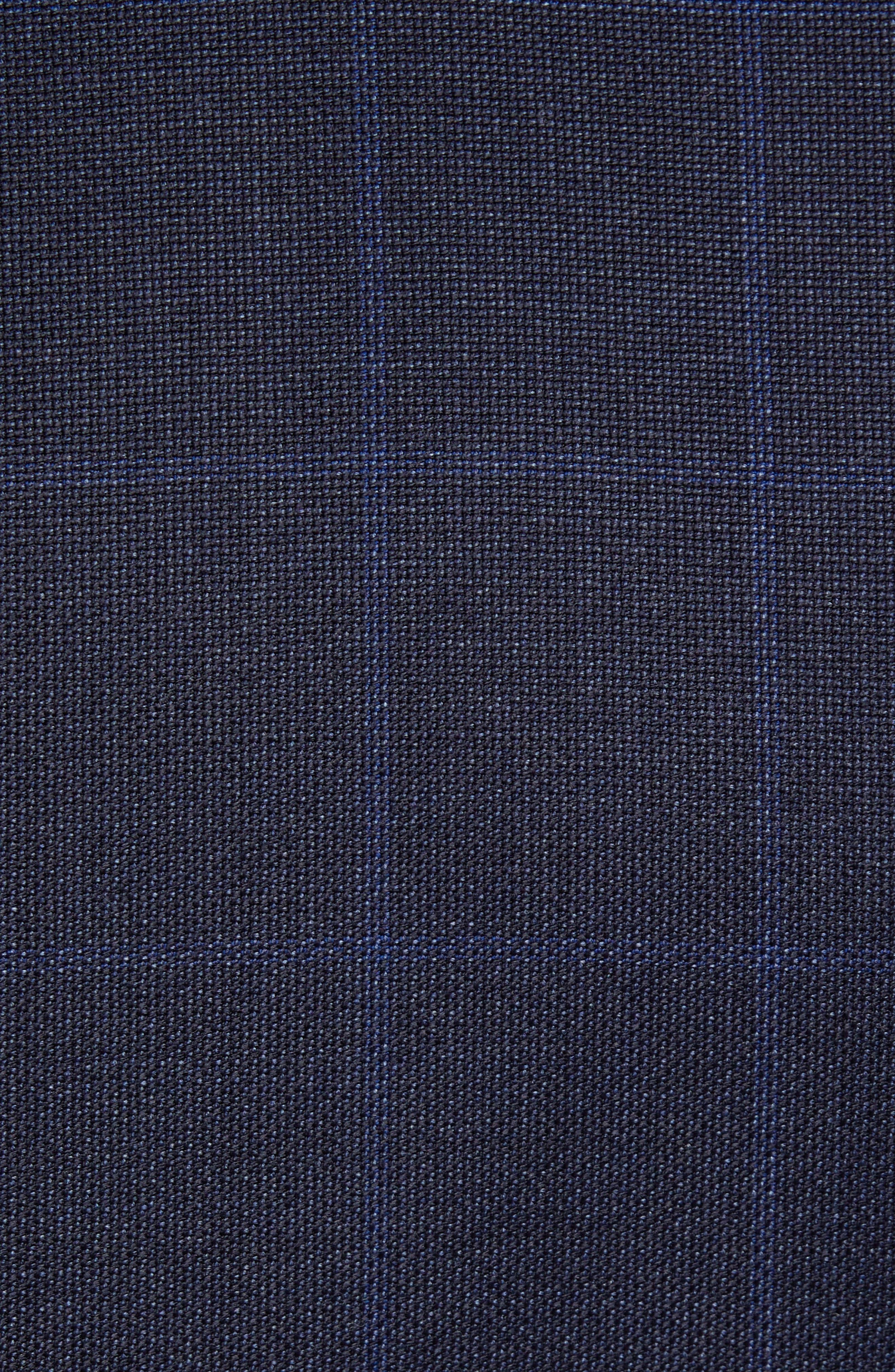 Huge/Genius Trim Fit Windowpane Wool Three-Piece Suit,                             Alternate thumbnail 8, color,                             480
