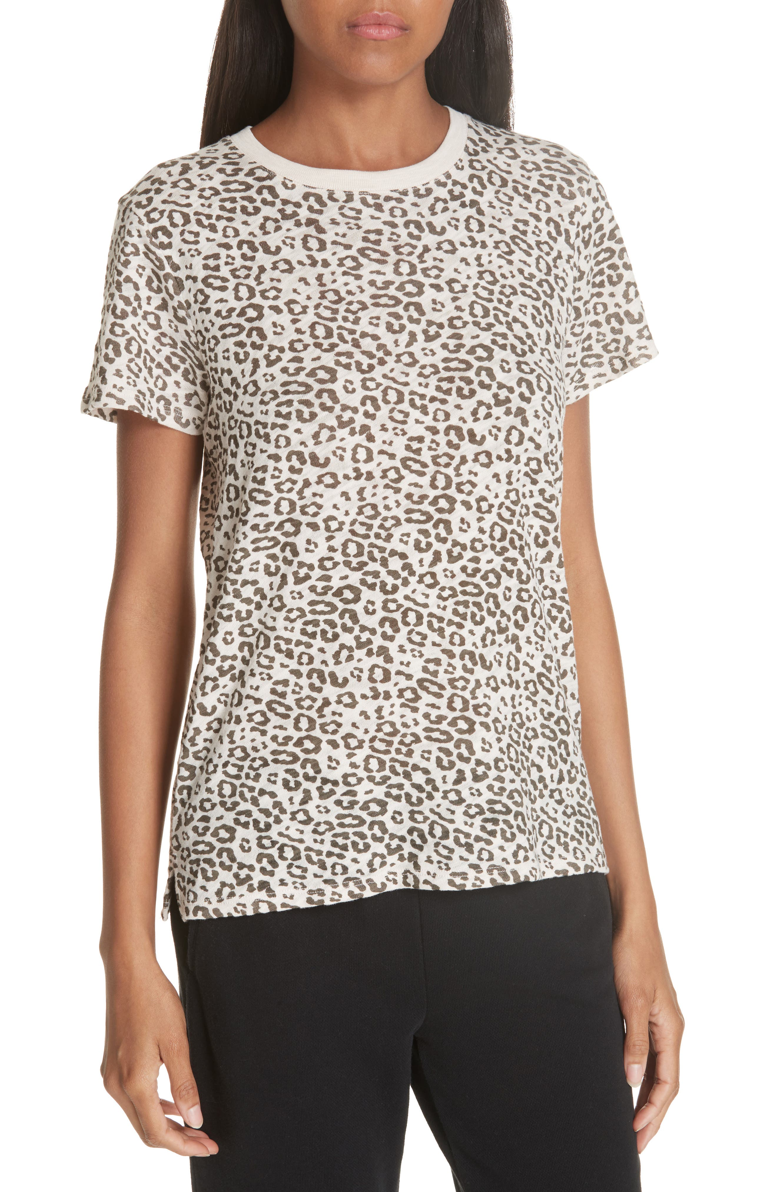 Crewneck Short-Sleeve Leopard-Print Slub Tee in Multi