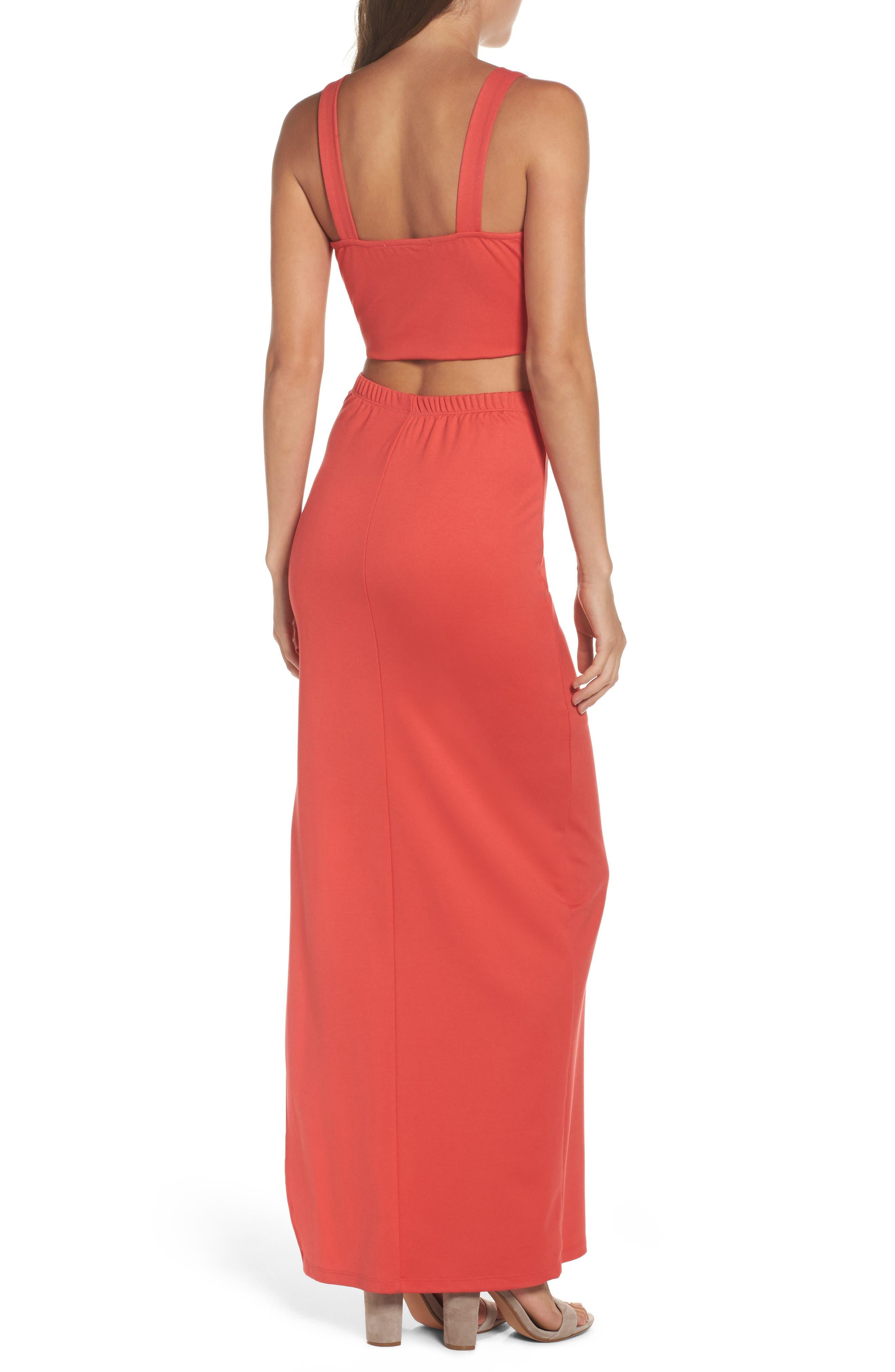 Maxi Dress,                             Alternate thumbnail 2, color,                             CORAL