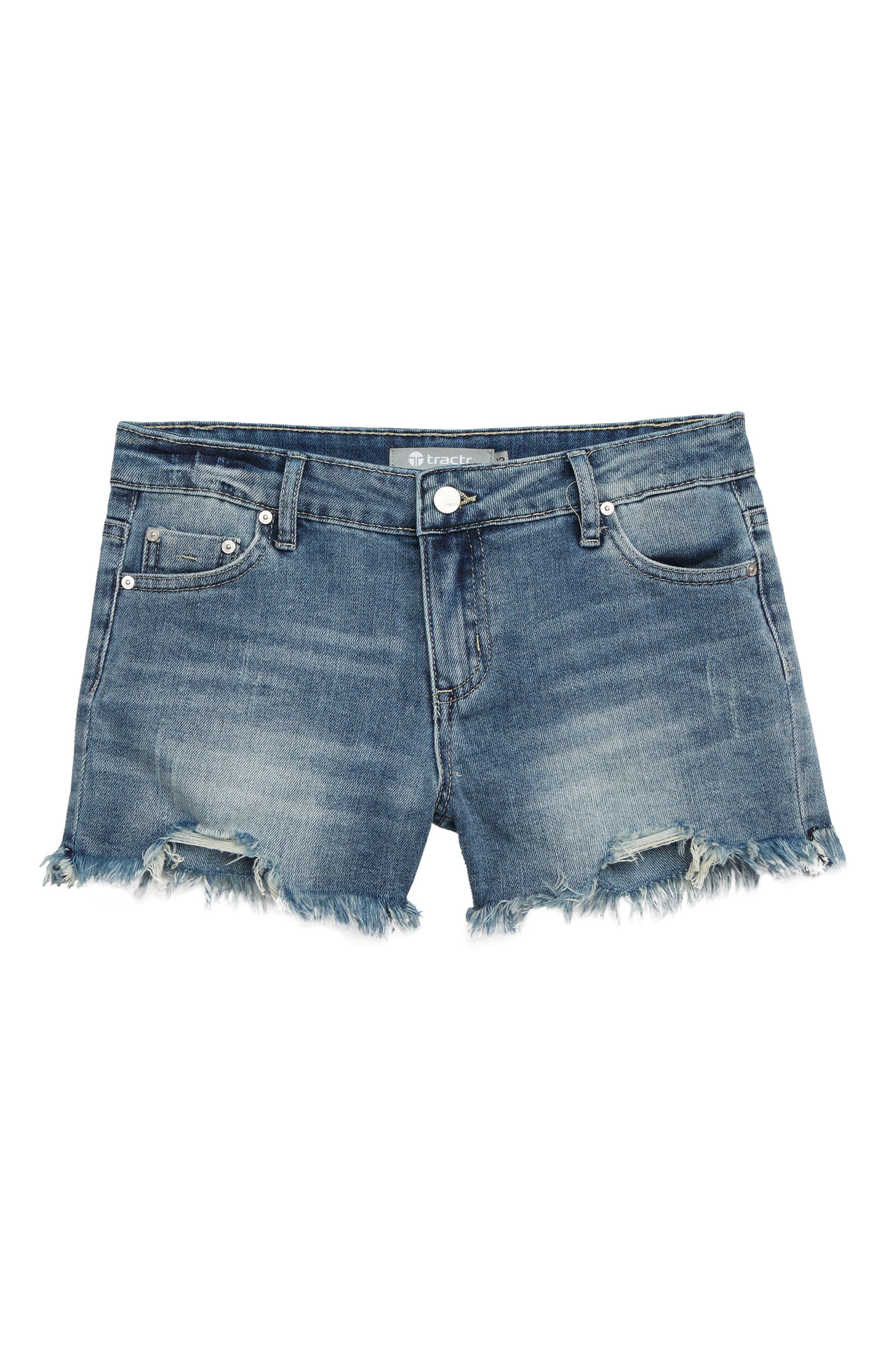TRACTR Cutoff Denim Shorts, Main, color, INDIGO