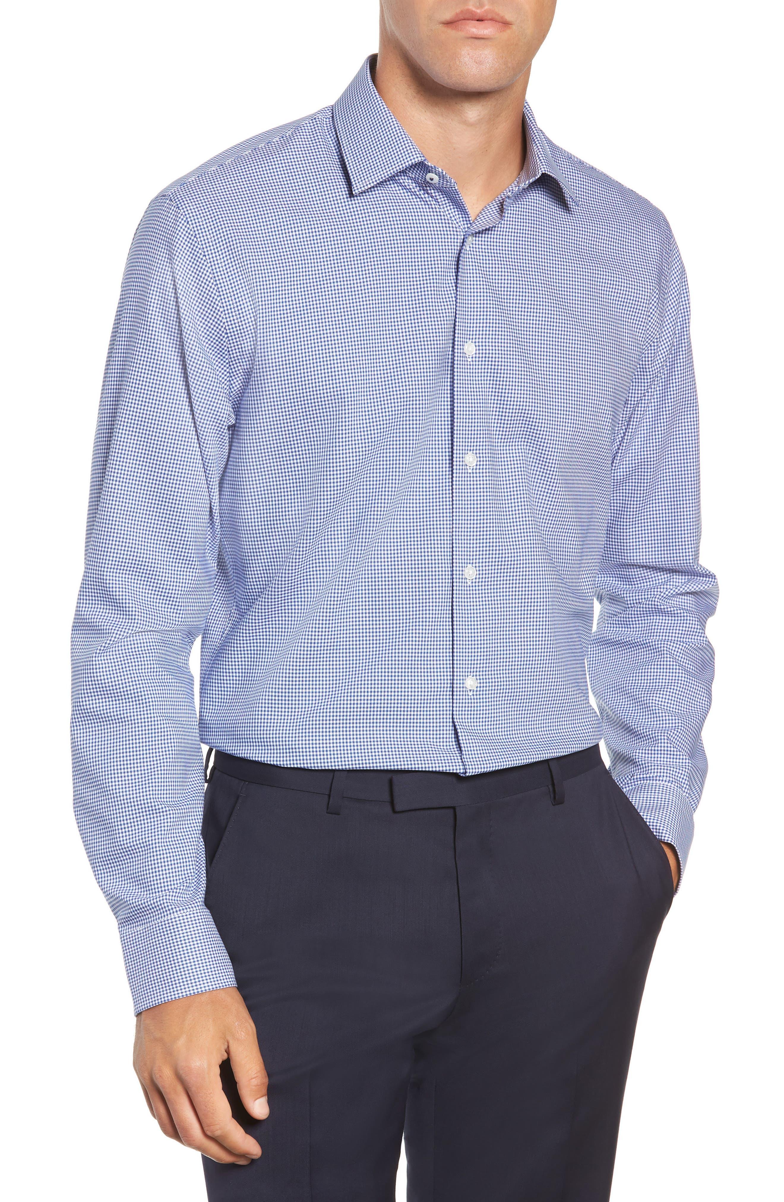 Tech-Smart Trim Fit Stretch Check Dress Shirt,                         Main,                         color, BLUE MARINE