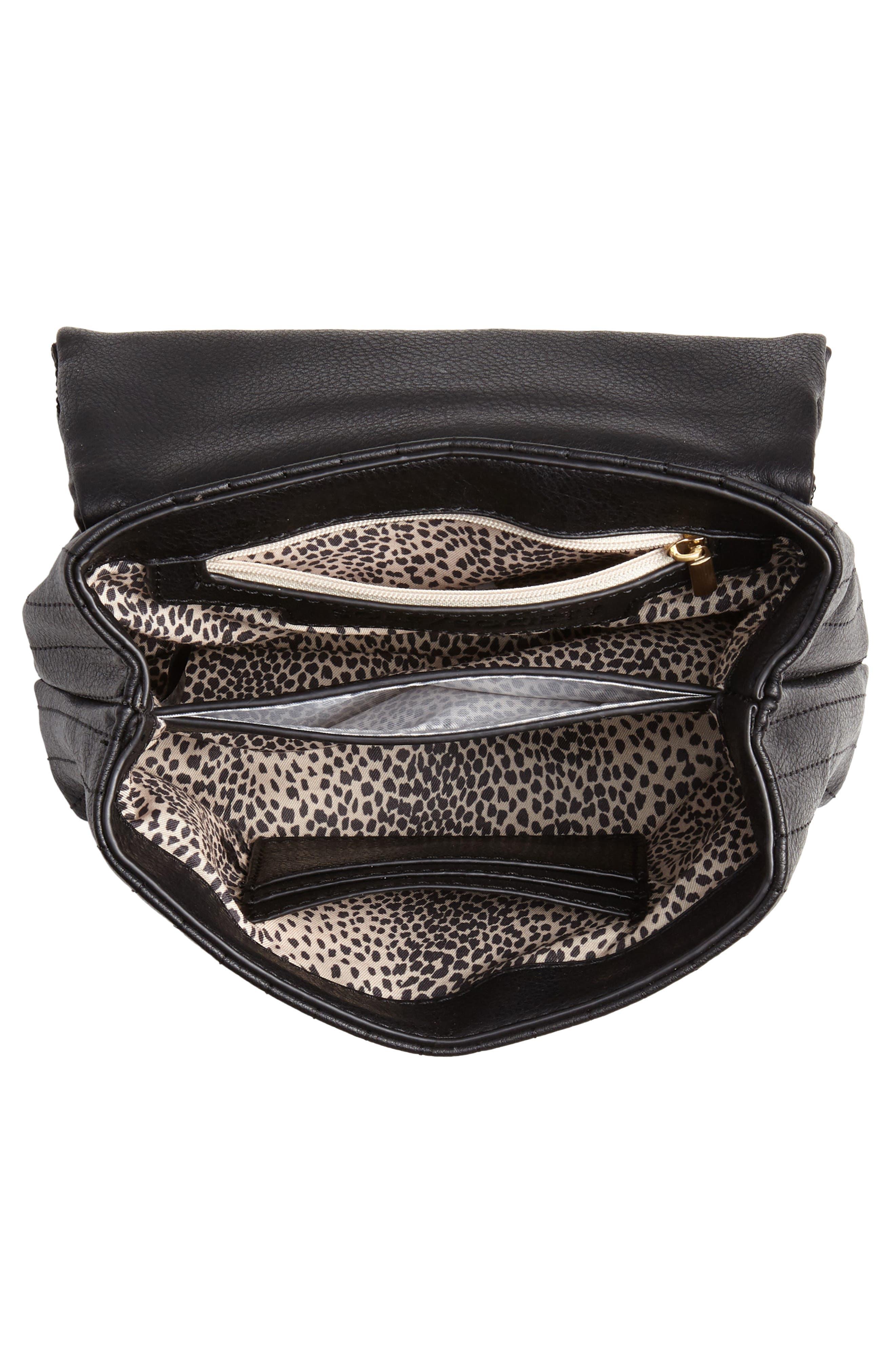 Urche Faux Leather Crossbody Bag,                             Alternate thumbnail 4, color,                             BLACK