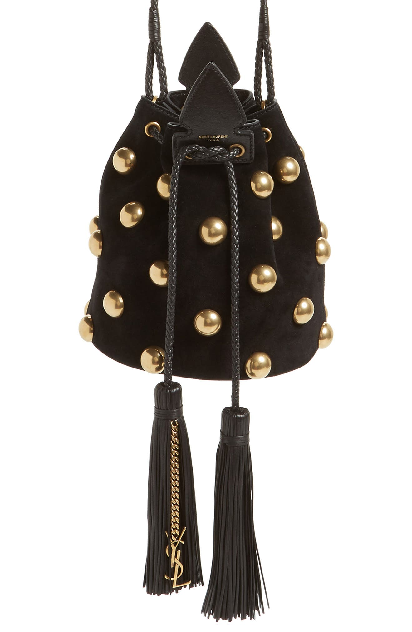 Small Anja Studded Leather Bucket Bag,                             Main thumbnail 1, color,                             NERO/ NERO