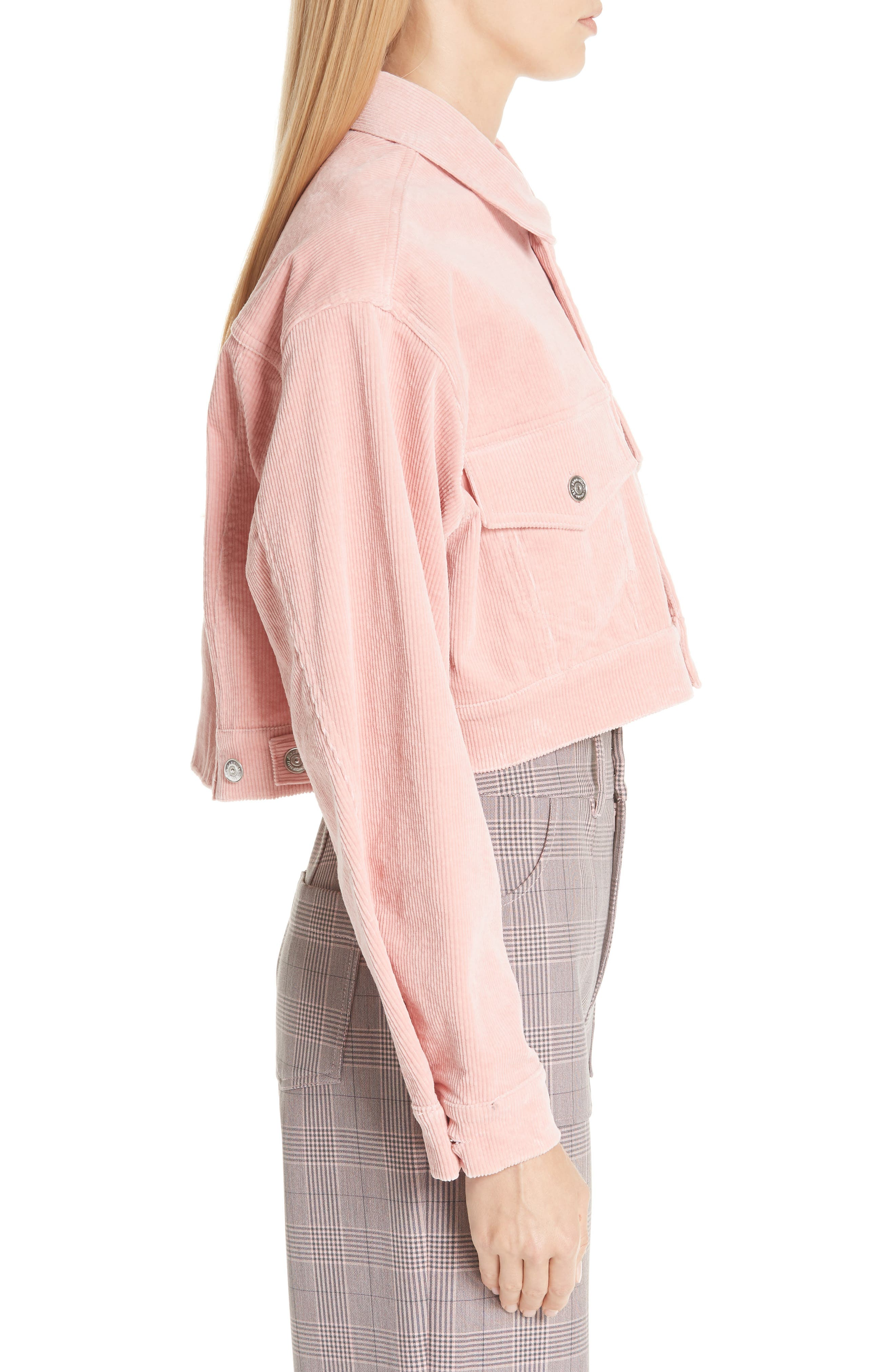 Stretch Corduroy Jacket,                             Alternate thumbnail 3, color,                             SILVER PINK 499