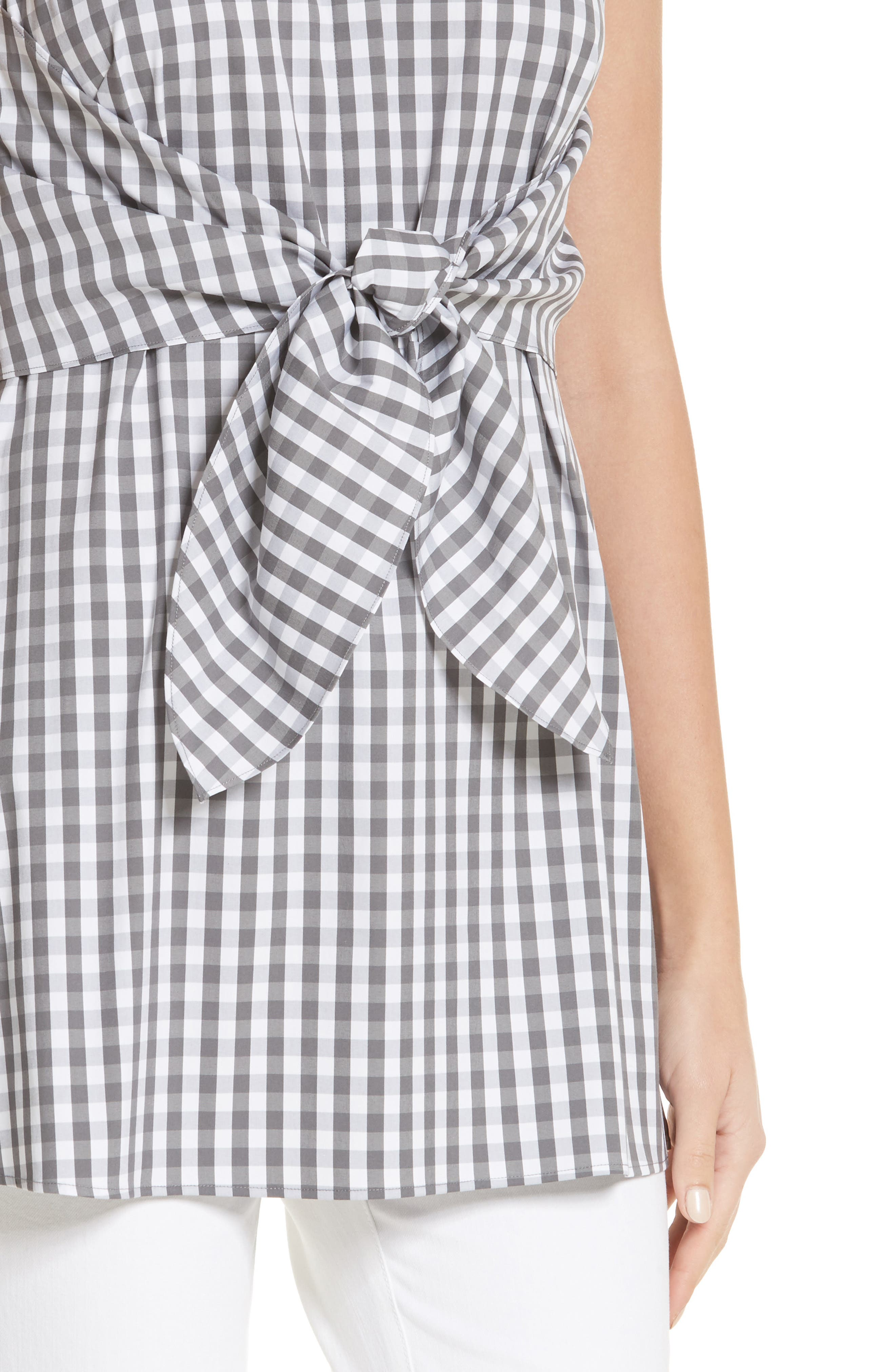 Mariel Gingham Tie Waist Blouse,                             Alternate thumbnail 4, color,                             014