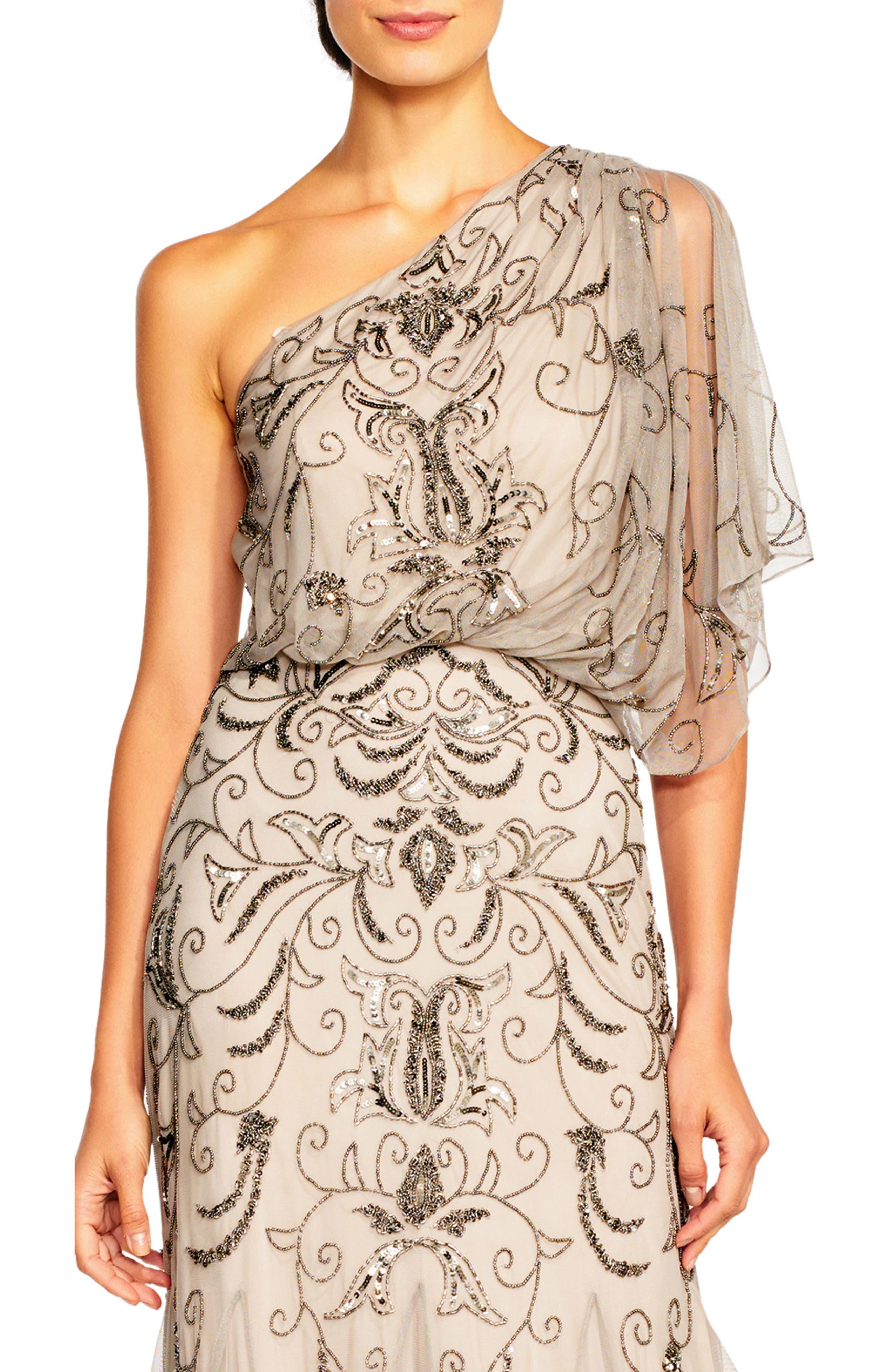 Beaded One-Shoulder Blouson Gown,                             Alternate thumbnail 3, color,                             036