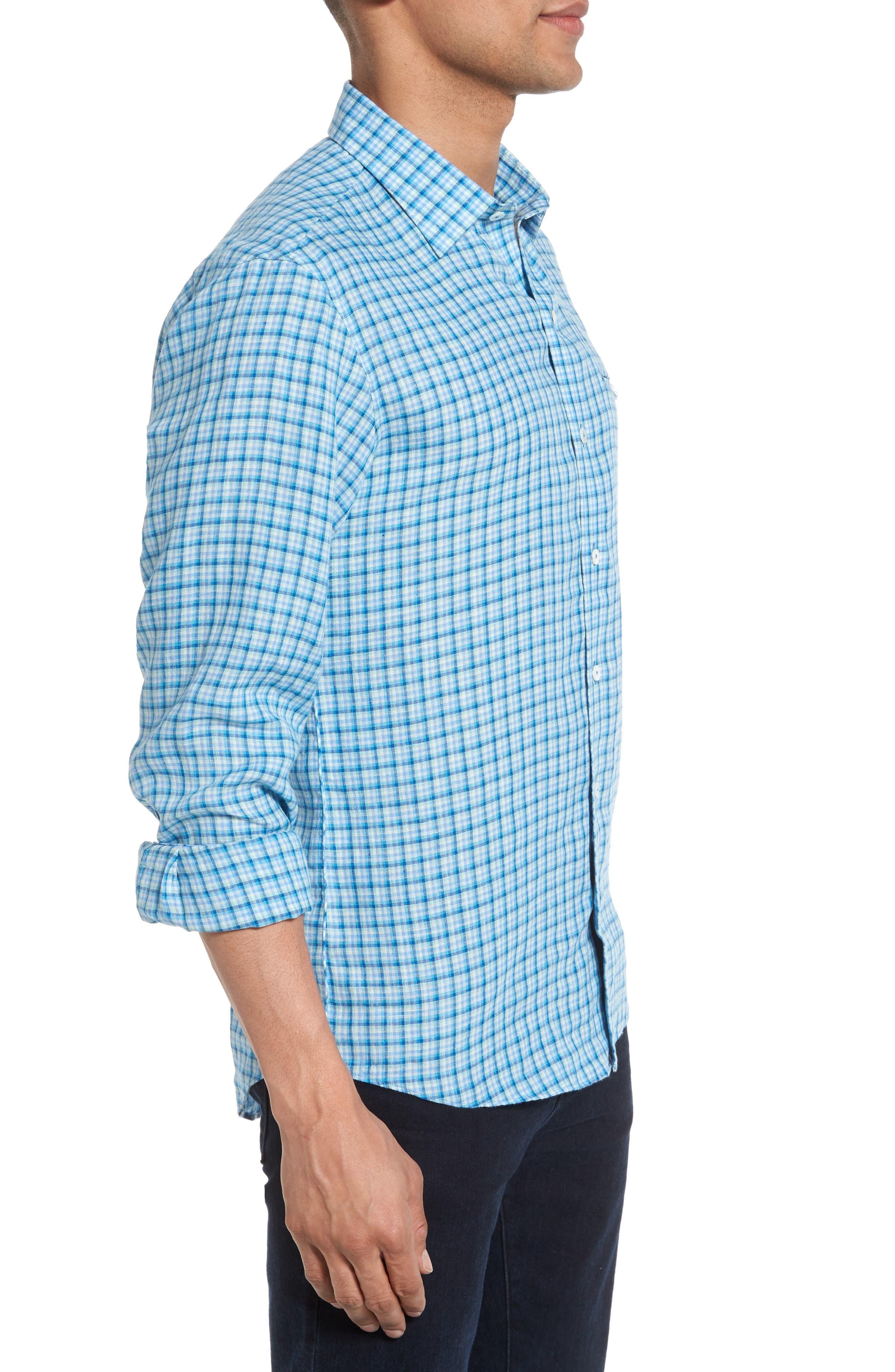 Althoff Plaid Linen Sport Shirt,                             Alternate thumbnail 5, color,