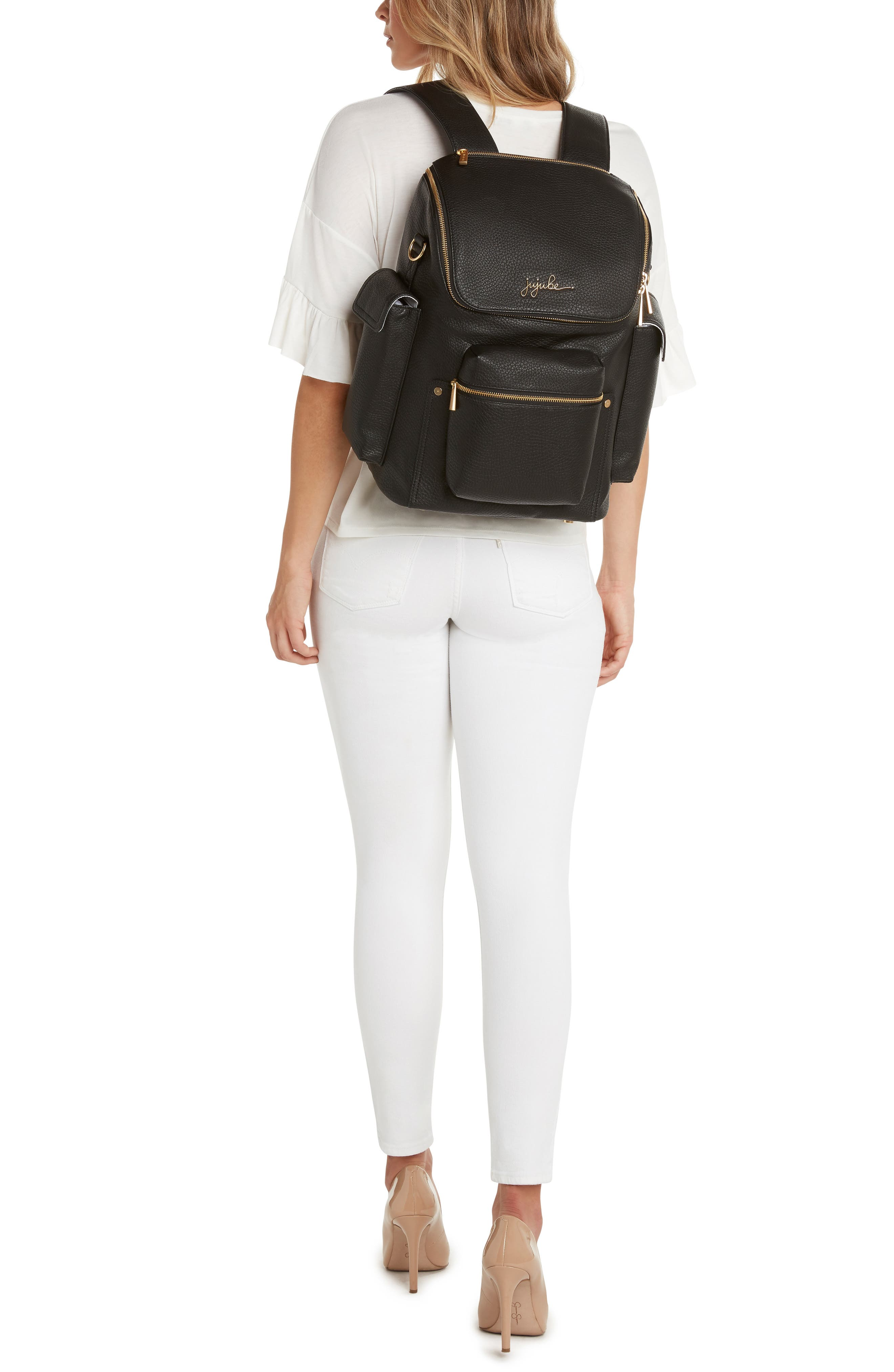 Ever Collection Forever Faux Leather Diaper Backpack,                             Alternate thumbnail 6, color,                             NOIR